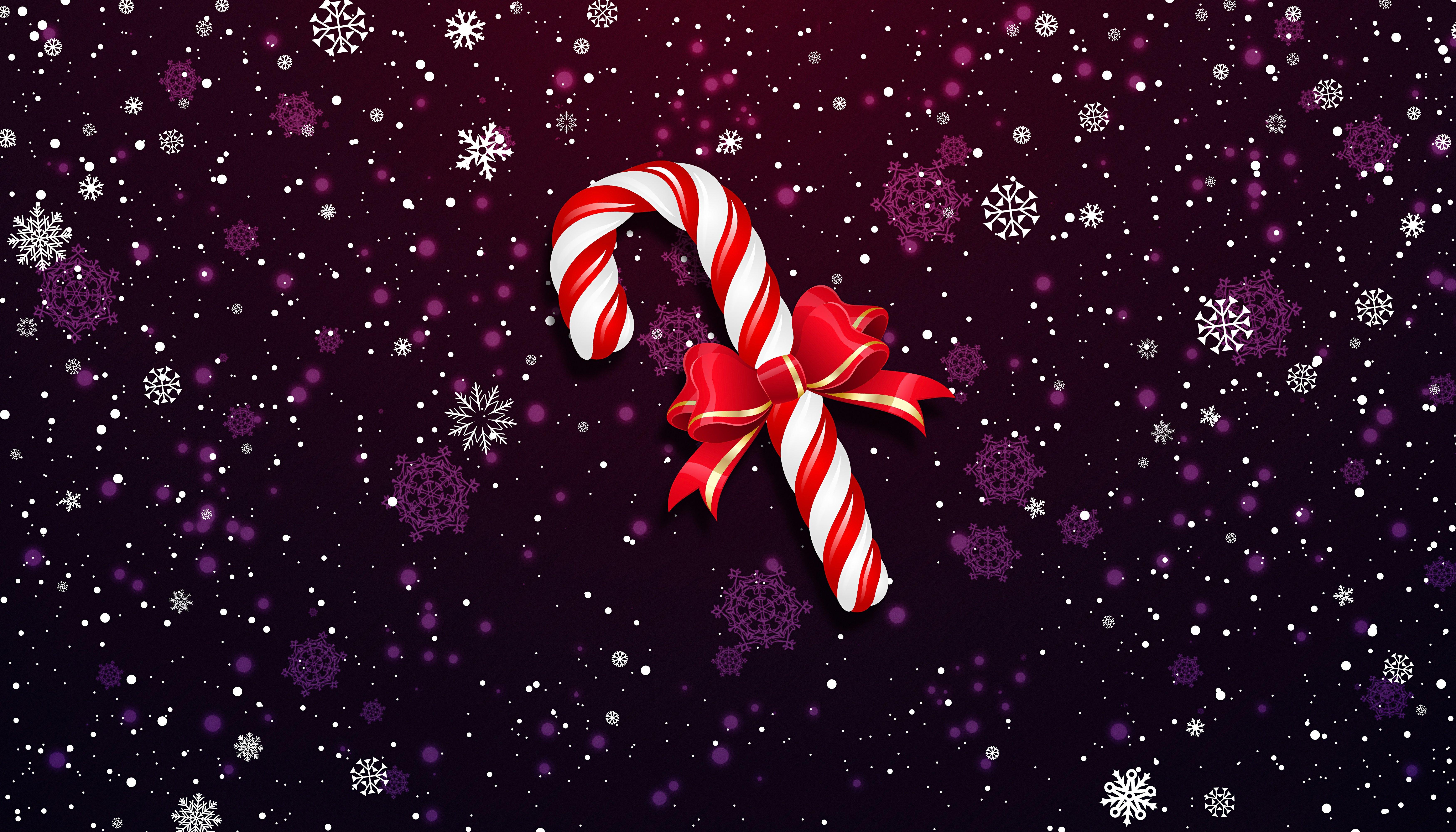 Fondos de pantalla Bastón Piruleta navideño con moño