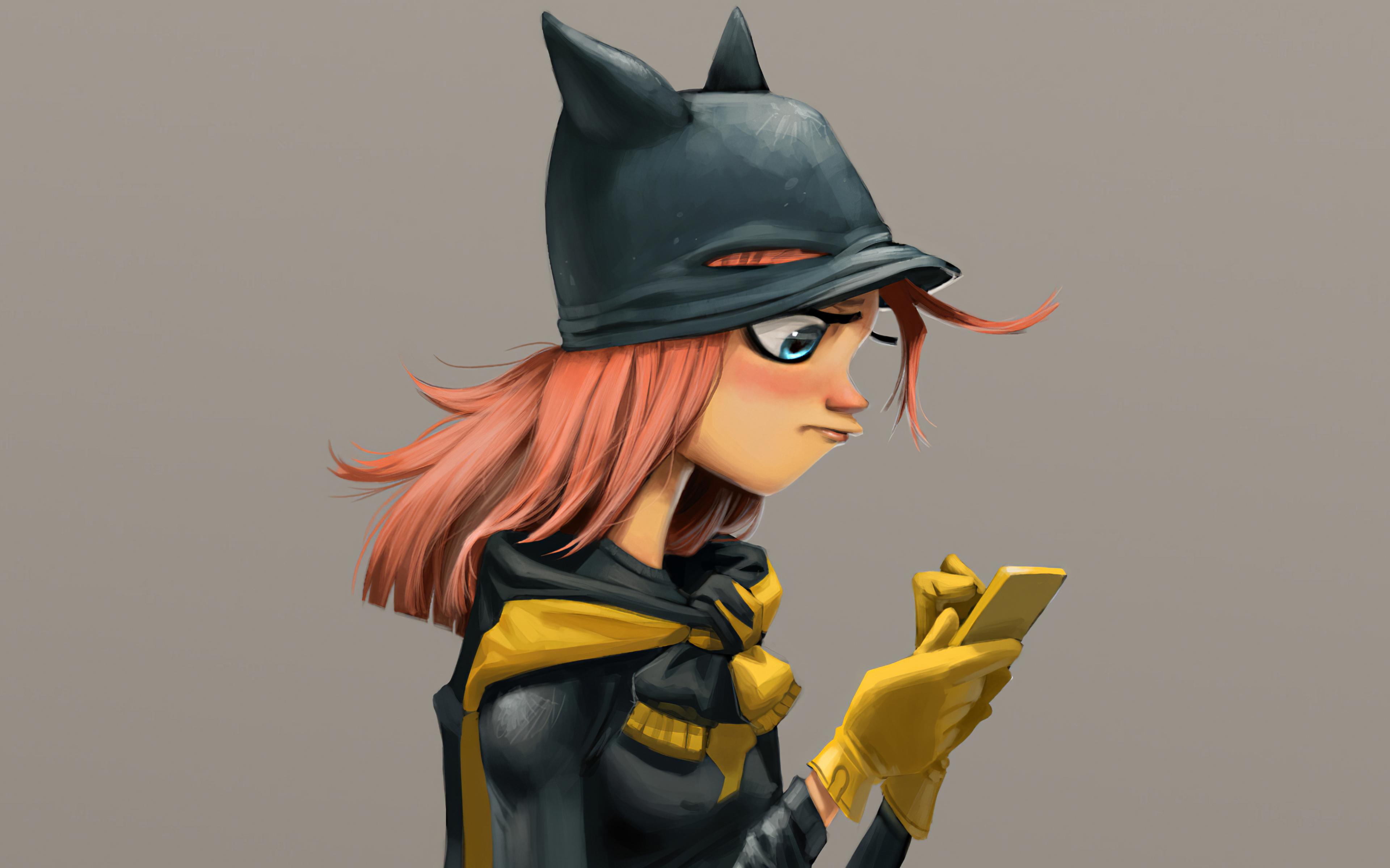 Fondos de pantalla Batgirl usando celular