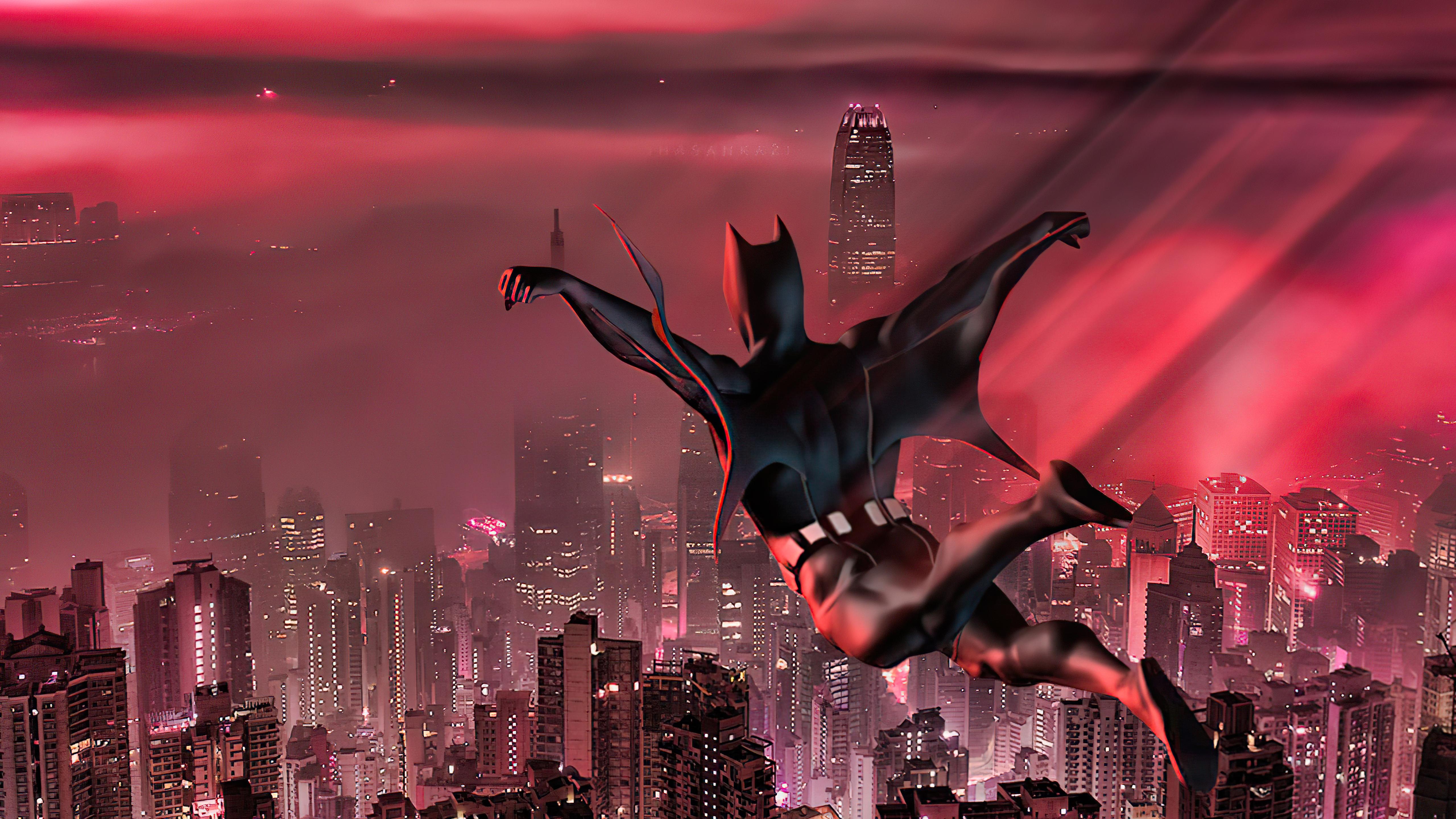 Wallpaper Batman Beyond jumping in city
