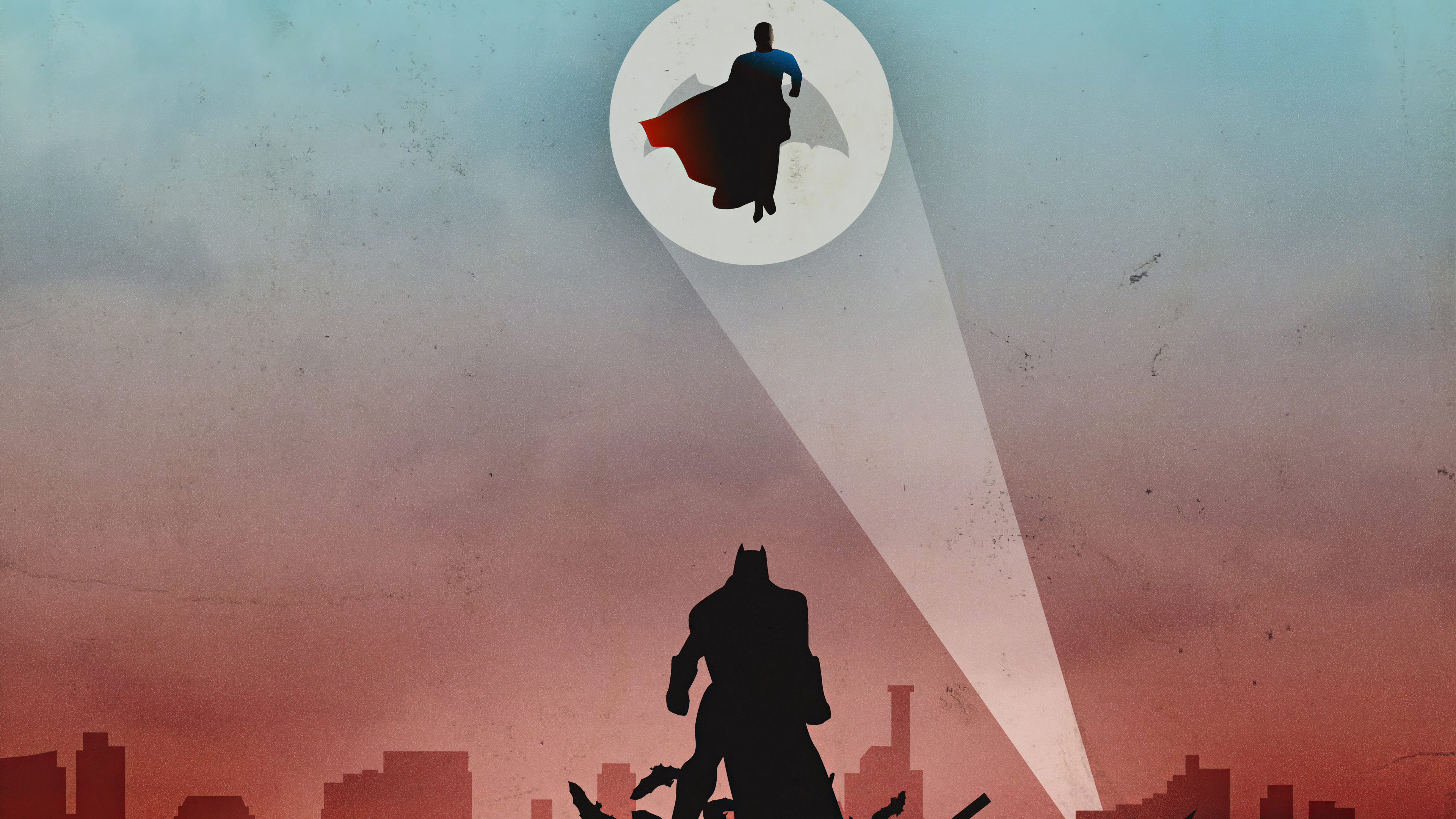 Wallpaper Batman Superman look up