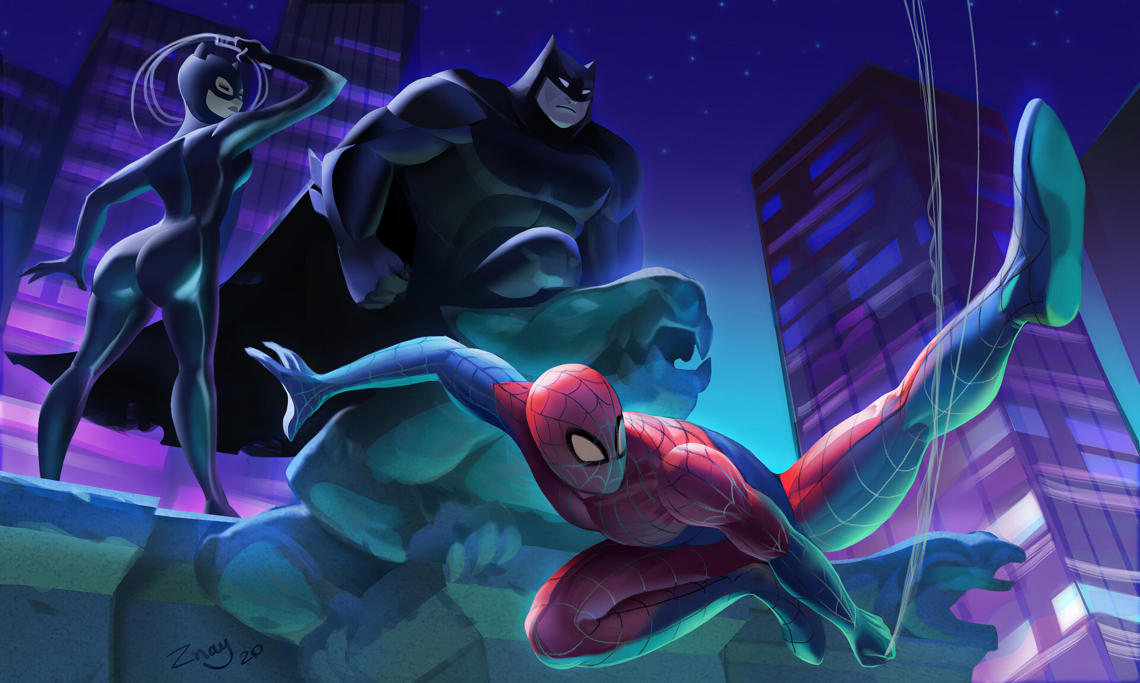 Fondos de pantalla Batman, el hombre araña y Gatubela Fanart