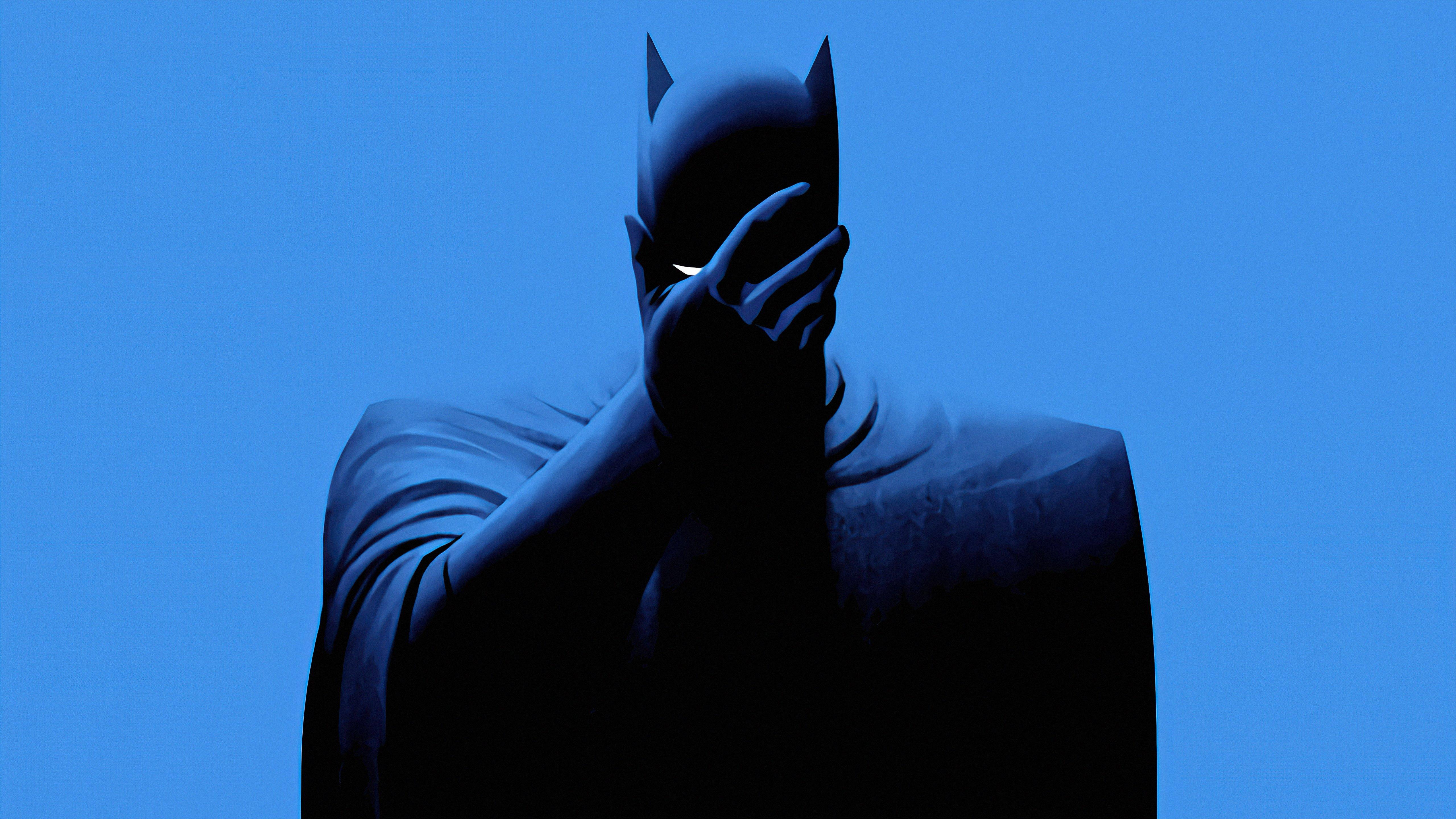 Fondos de pantalla Batman Estilo minimalista fondo azul
