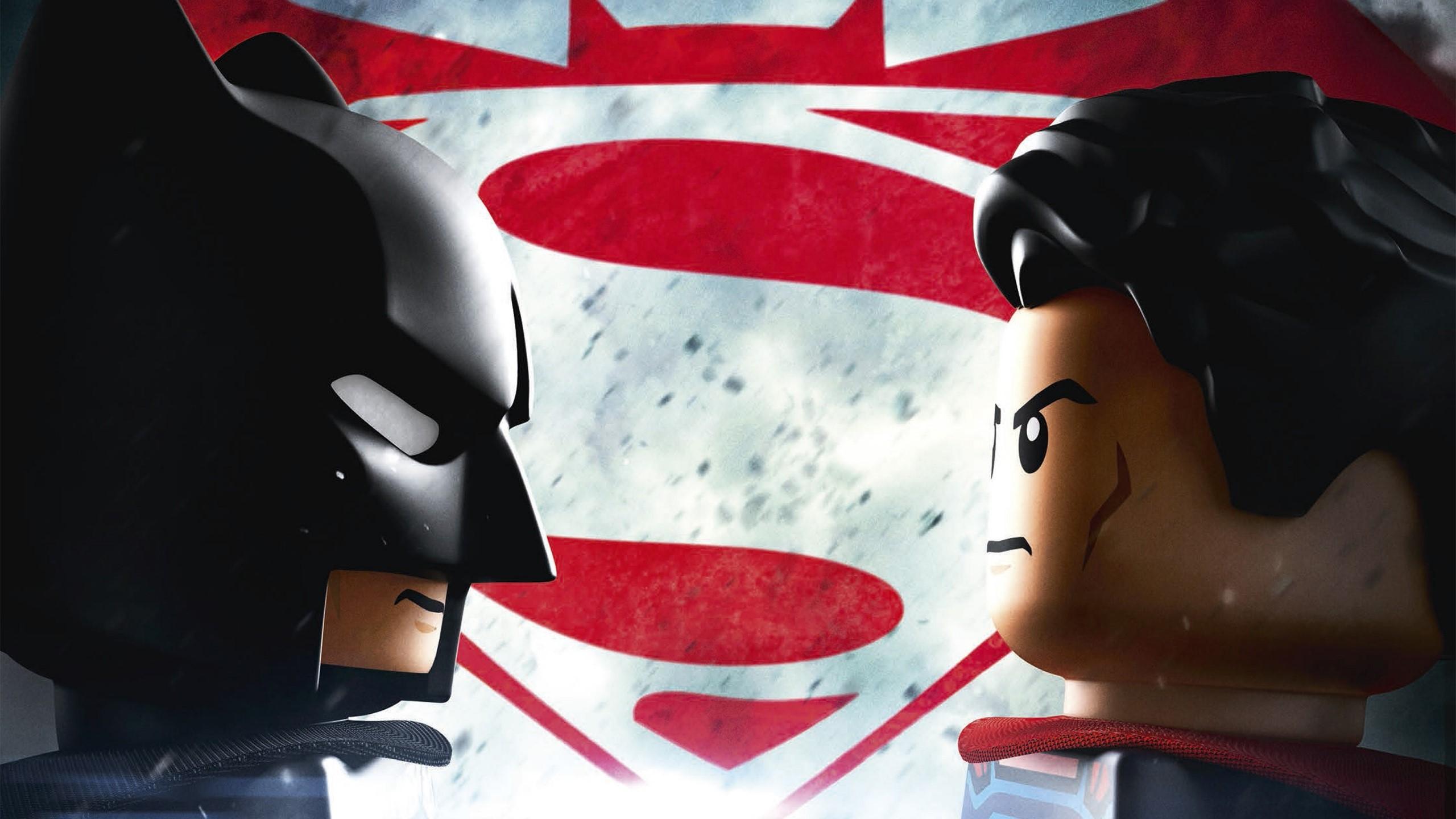 Wallpaper Batman vs Lego Superman