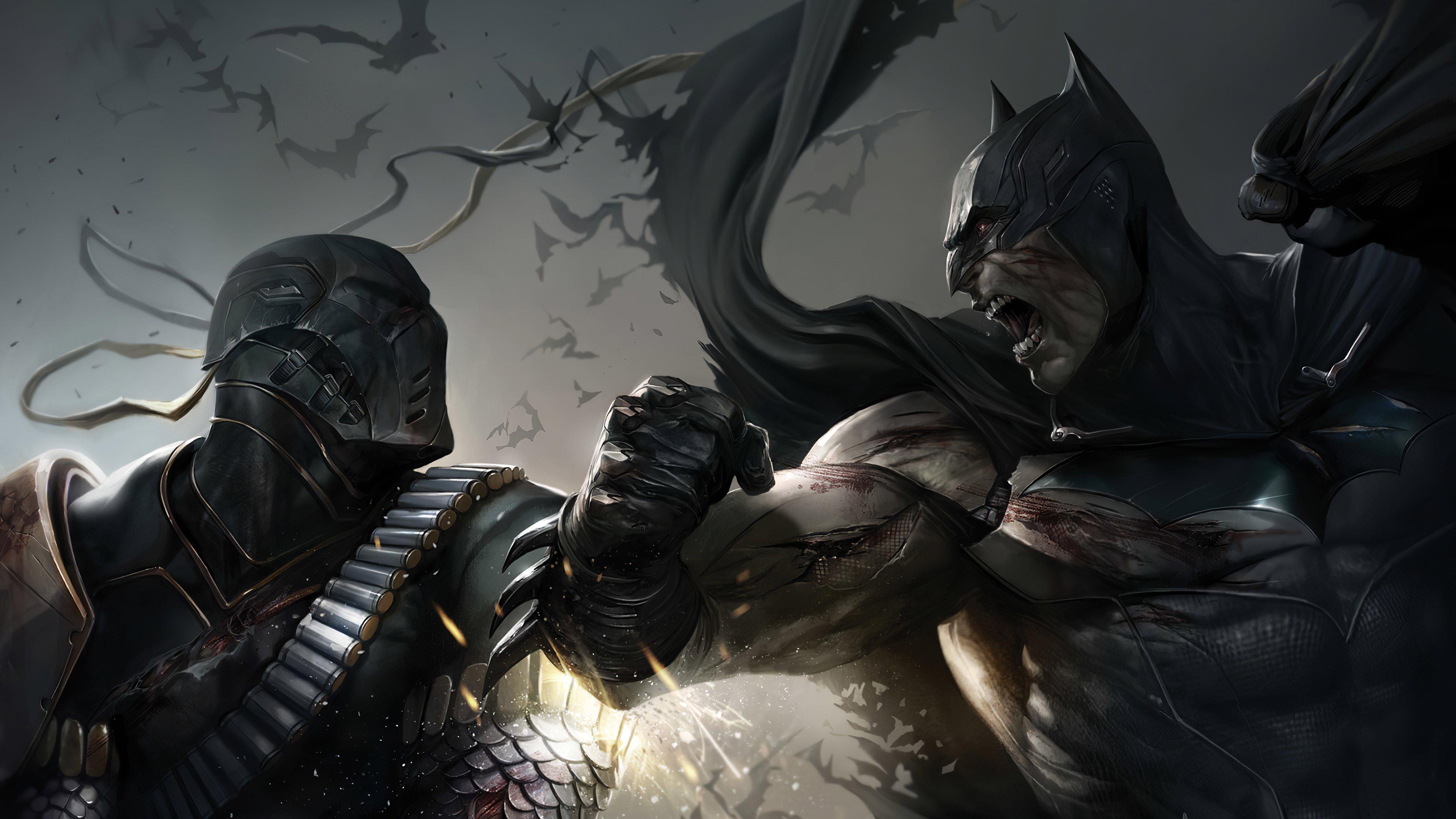 Fondos de pantalla Batman y Deathstroke peleando