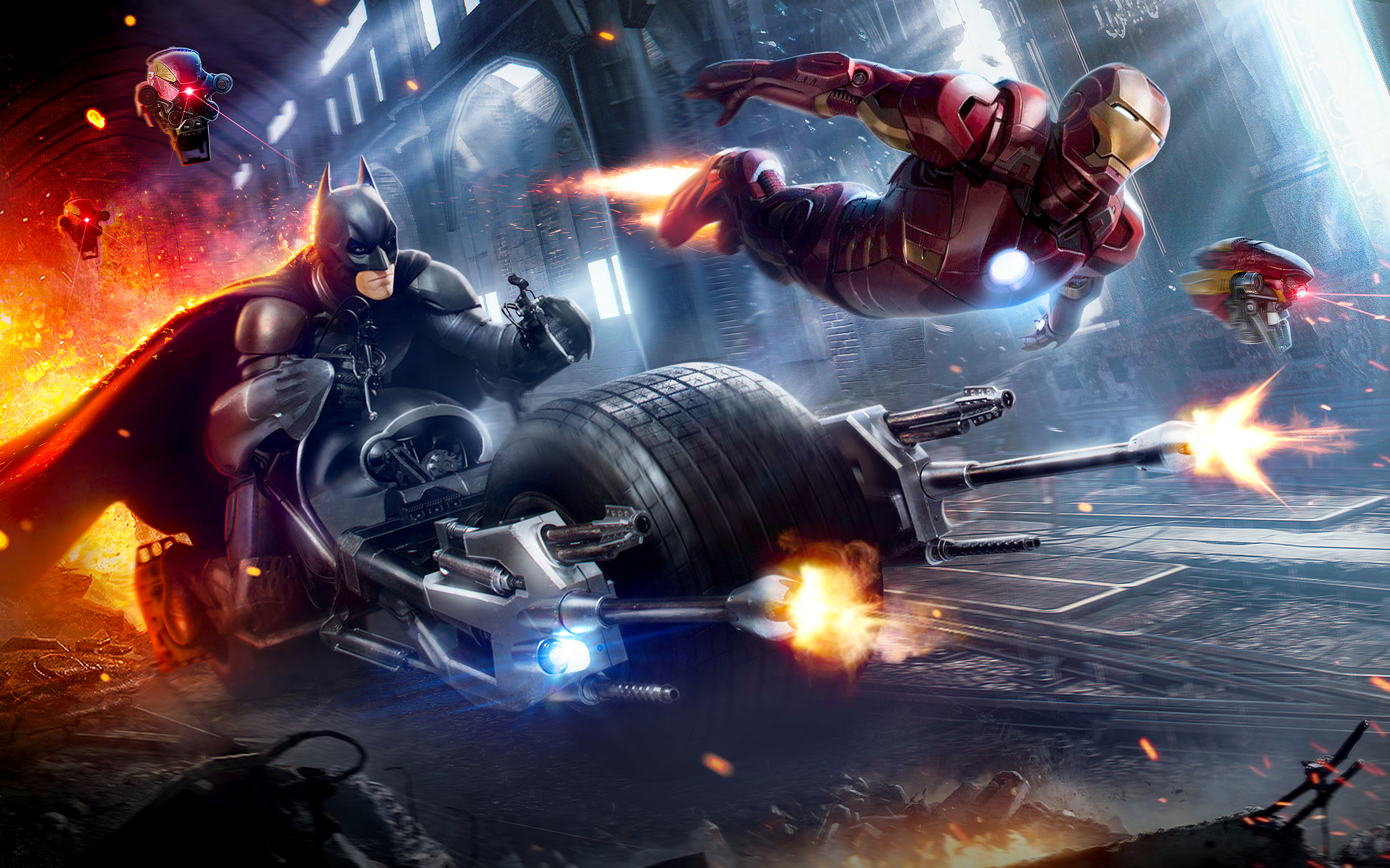 Fondos de pantalla Batman y Iron Man