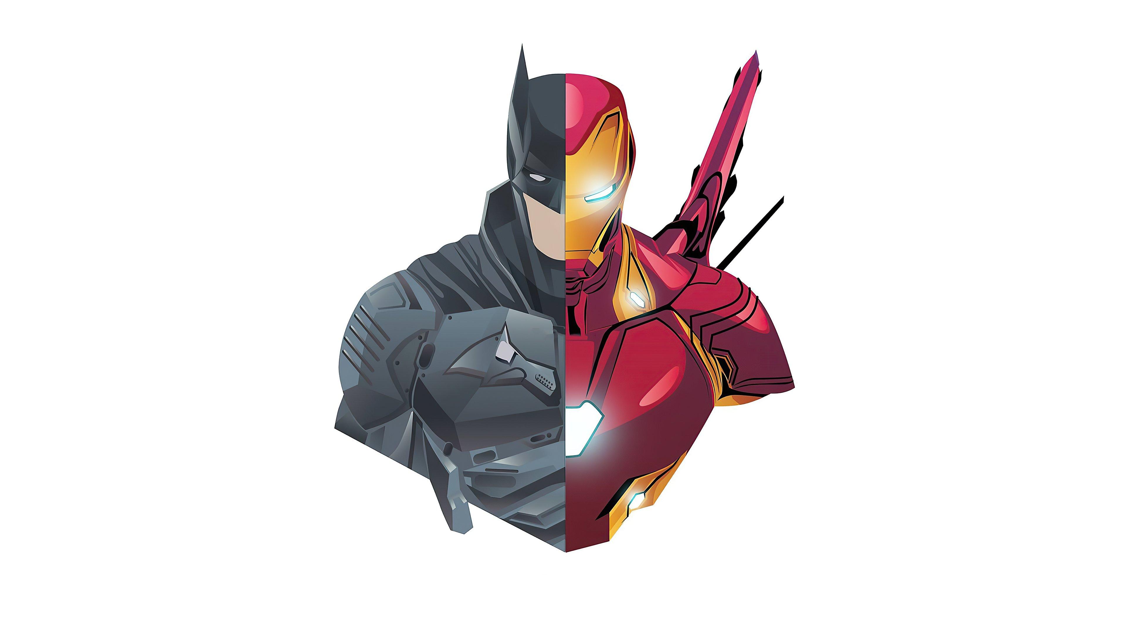Fondos de pantalla Batman y Iron Man en estilo minimalista