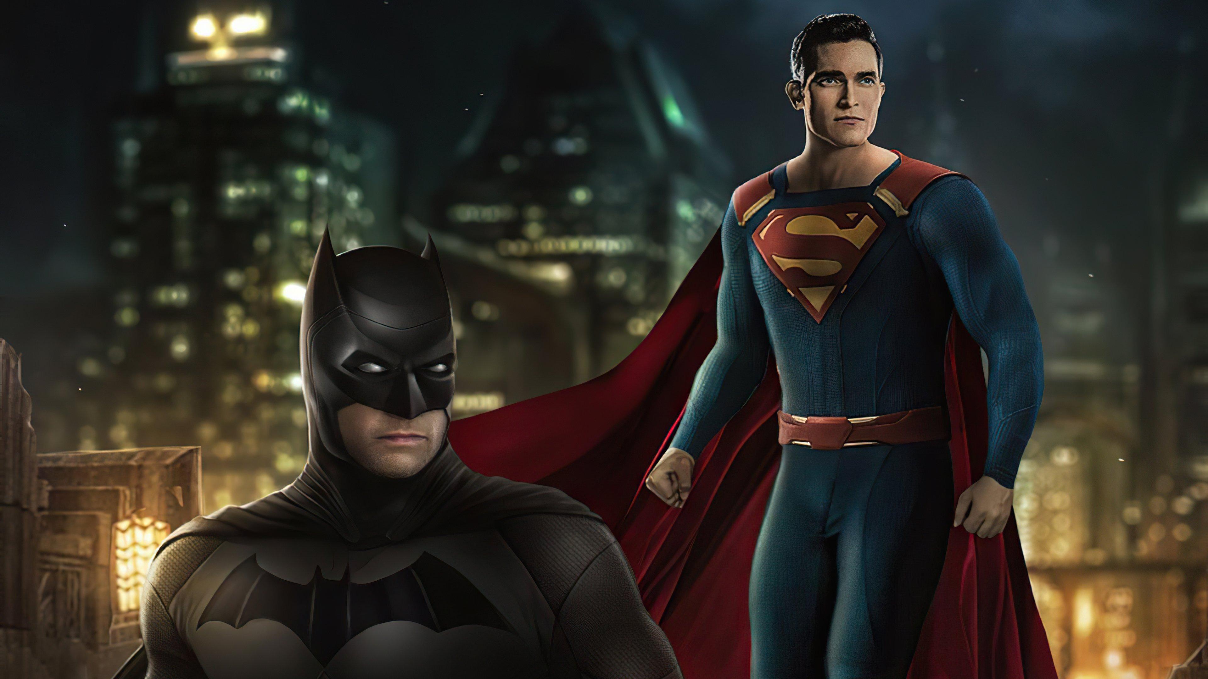 Fondos de pantalla Batman y Superman en la ciudad