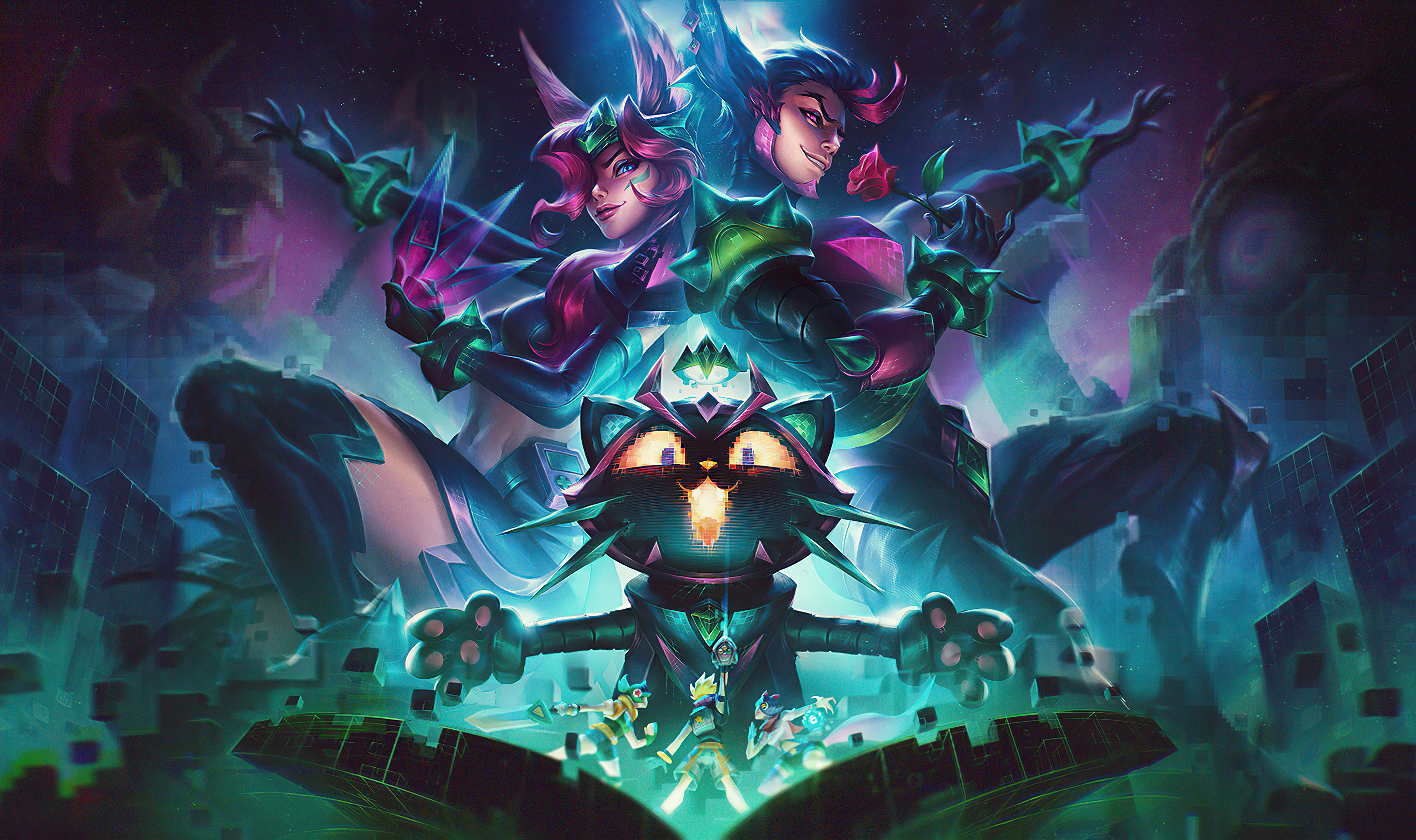 Wallpaper Battle Boss Xayah and Yuumi League of Legends