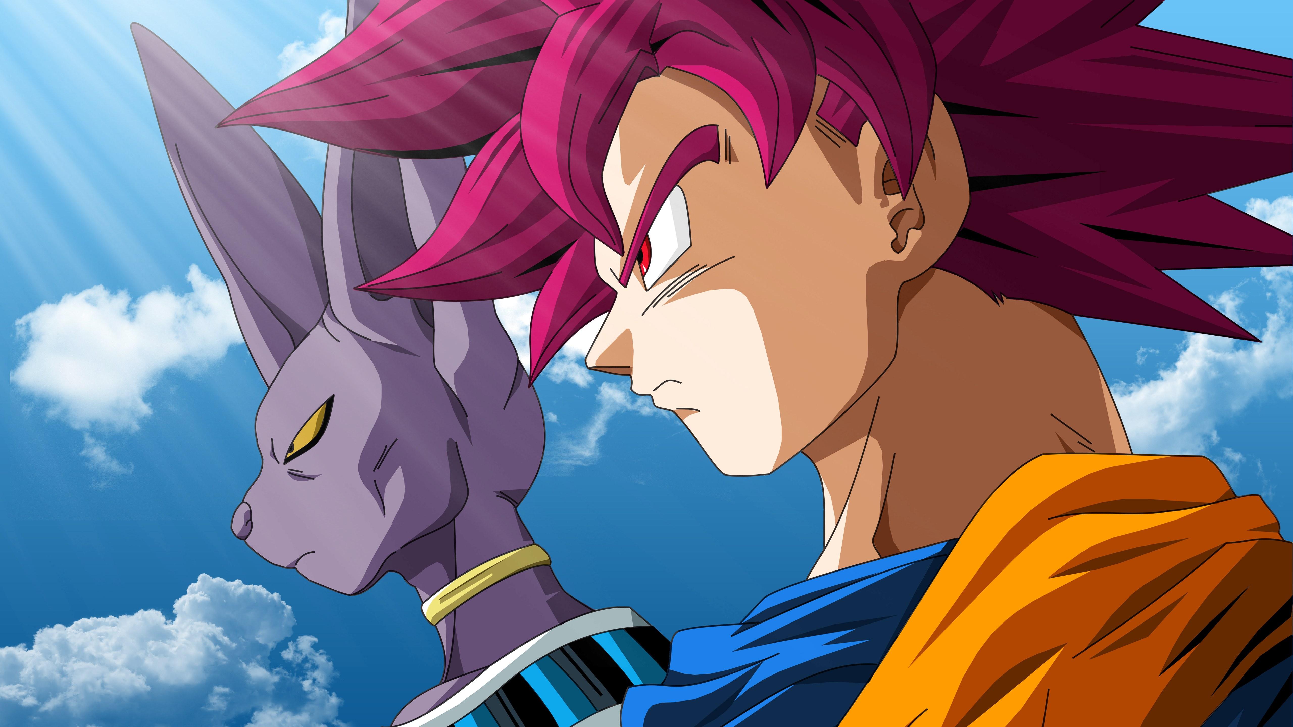 Fondos de pantalla Anime Beerus y Goku Super Saiyan God