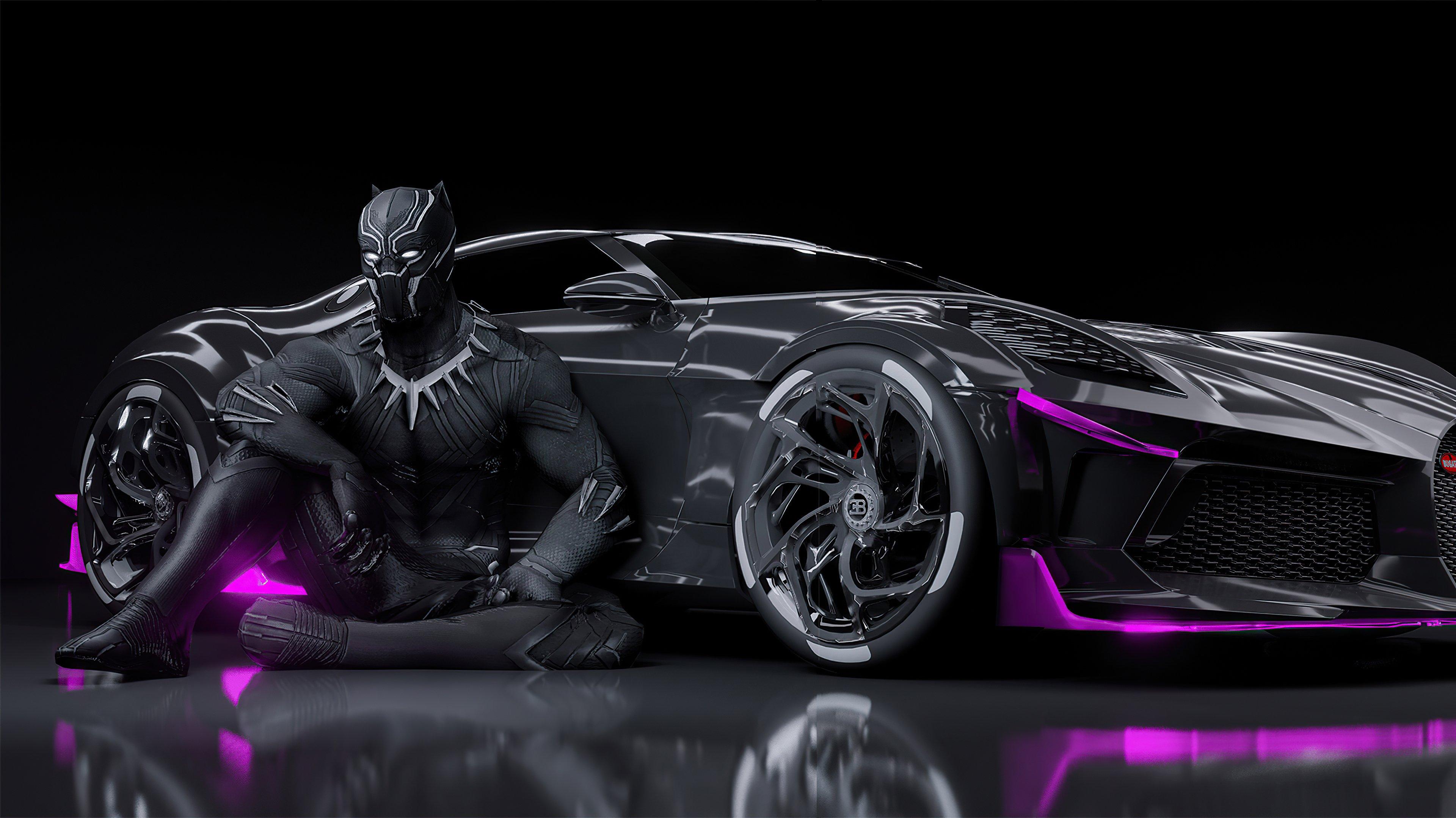 Fondos de pantalla Black Panther Bugatti Chiron La voiture noire