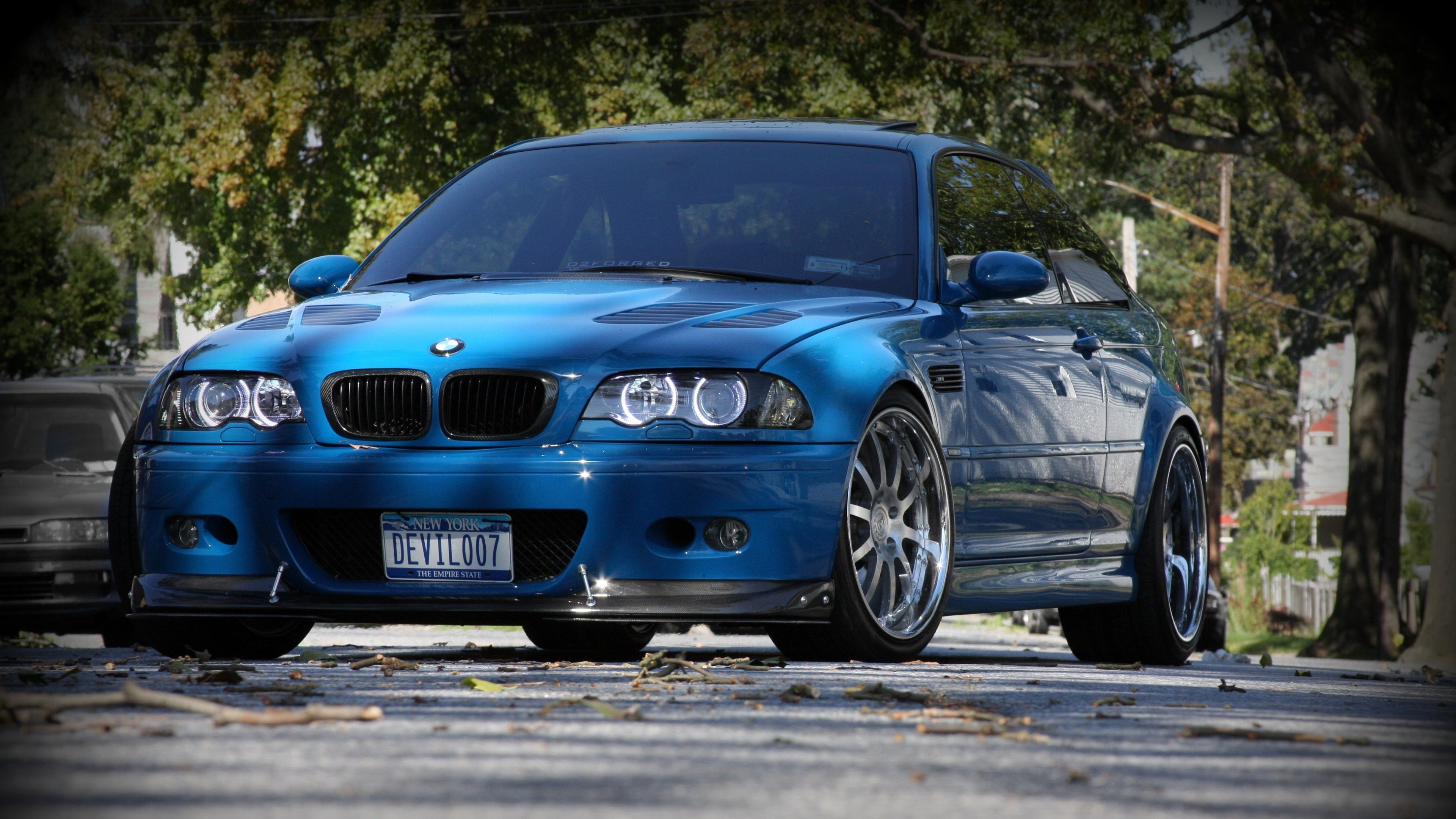 Wallpaper BMW M3 E46 blue front