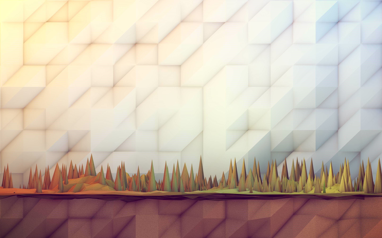 Fondos de pantalla Bosque poligonal