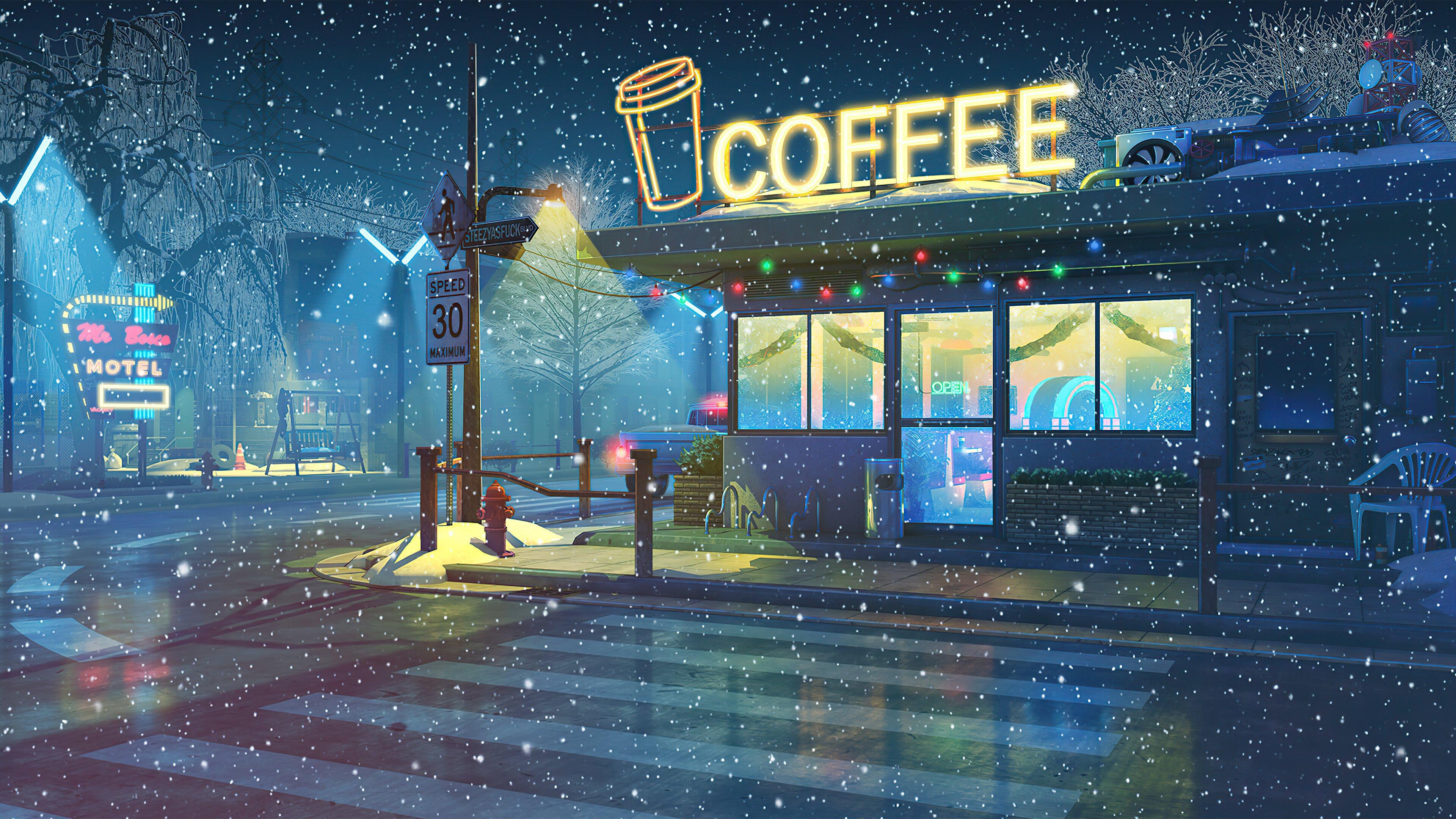Fondos de pantalla Cafetería en el invierno durante la noche Arte Digital