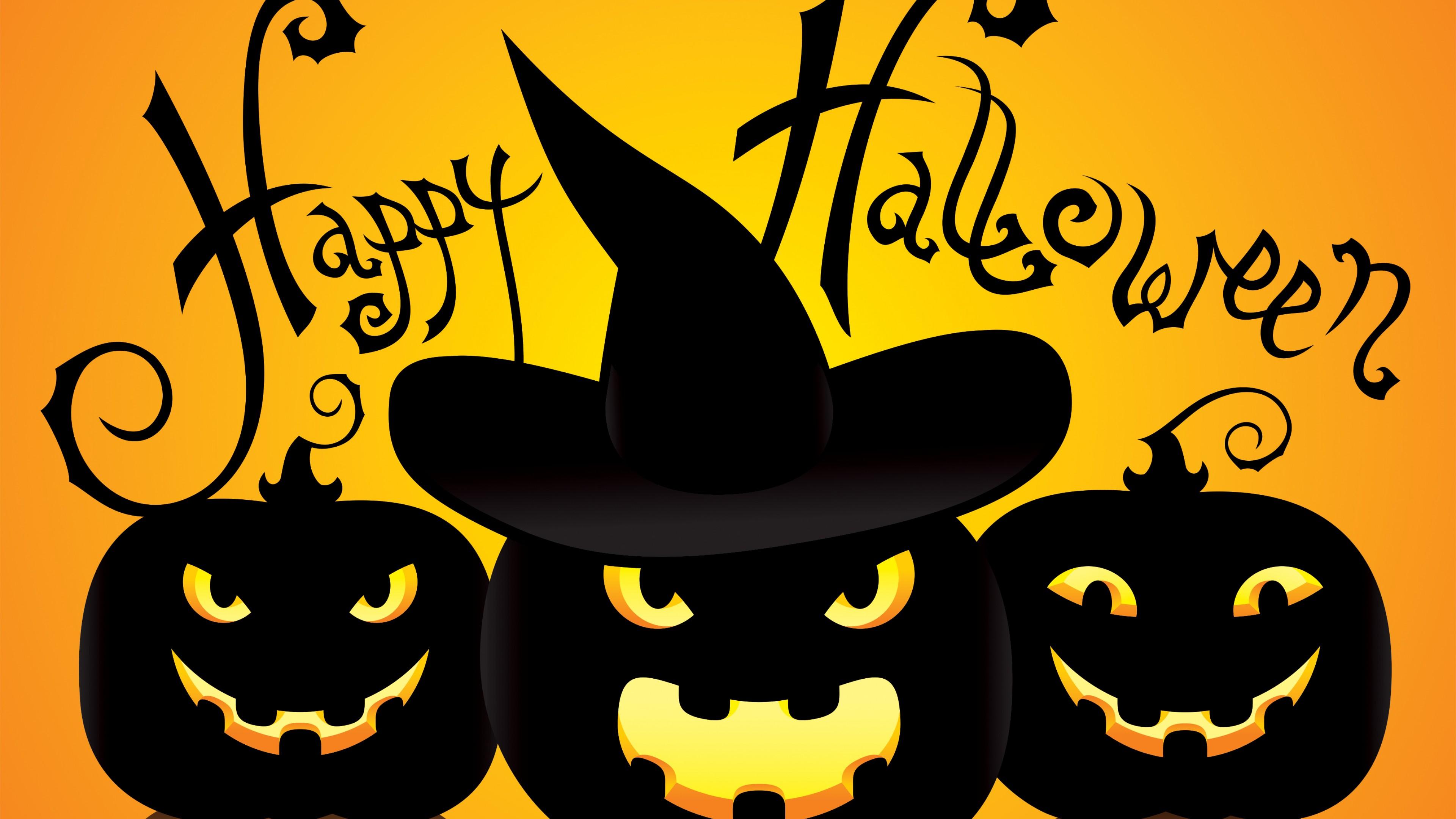 Wallpaper Pumpkins with Happy Halloween