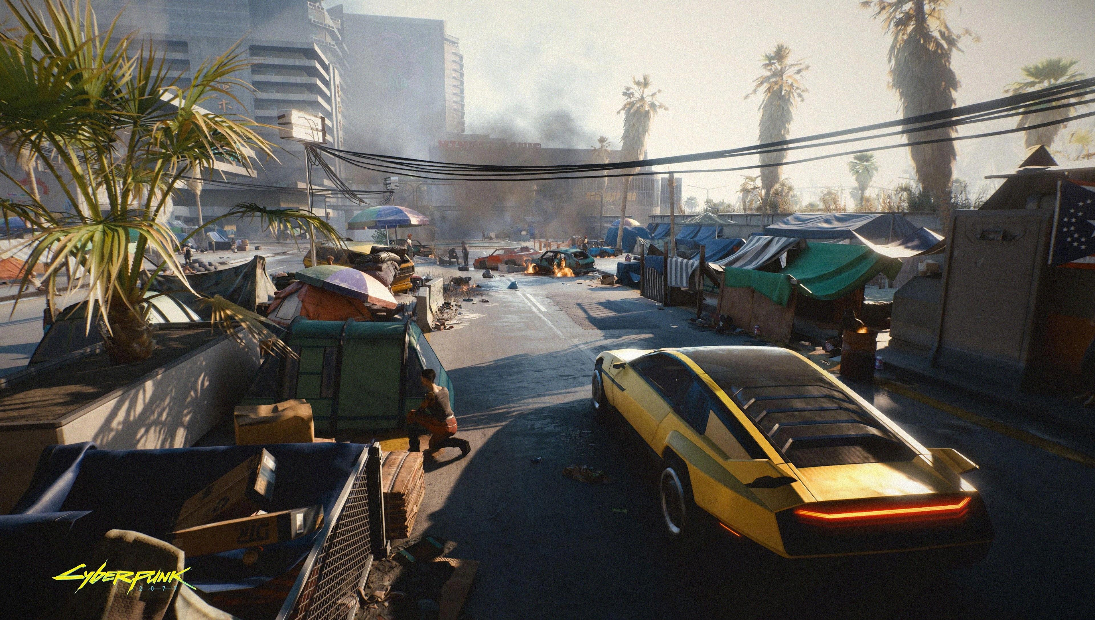 Wallpaper Street from Cyberpunk 2077