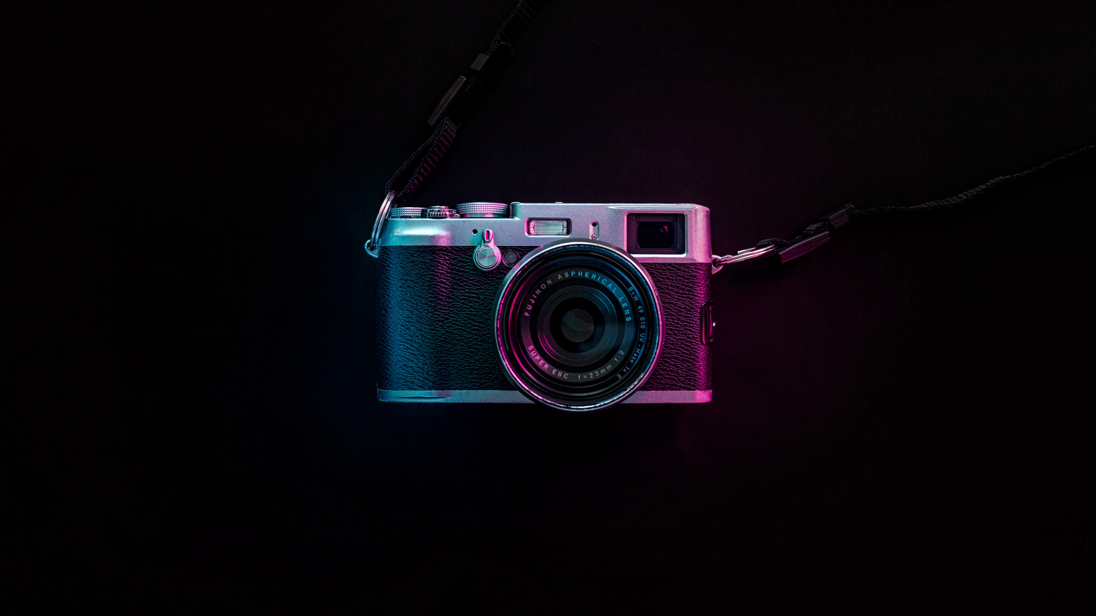 Vintage Camera Fujinon With Neon Lights Wallpaper 4k Ultra