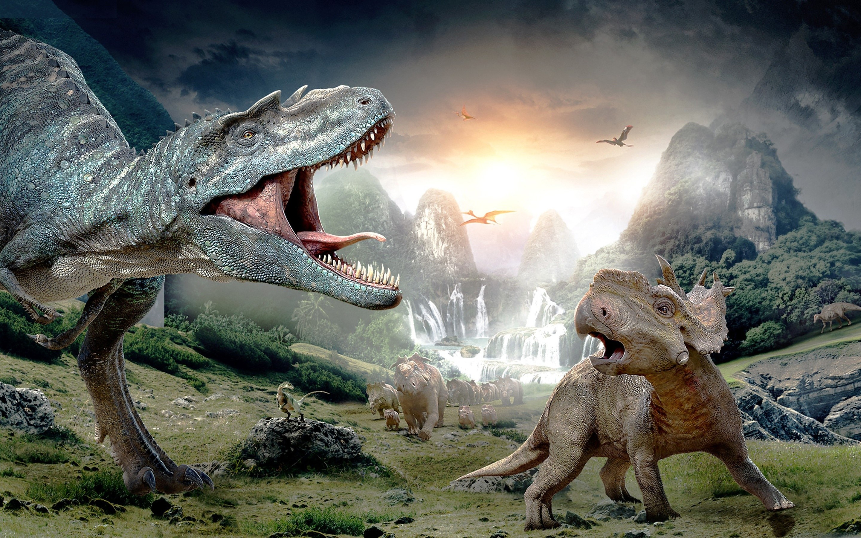 Wallpaper Walking among dinosaurs