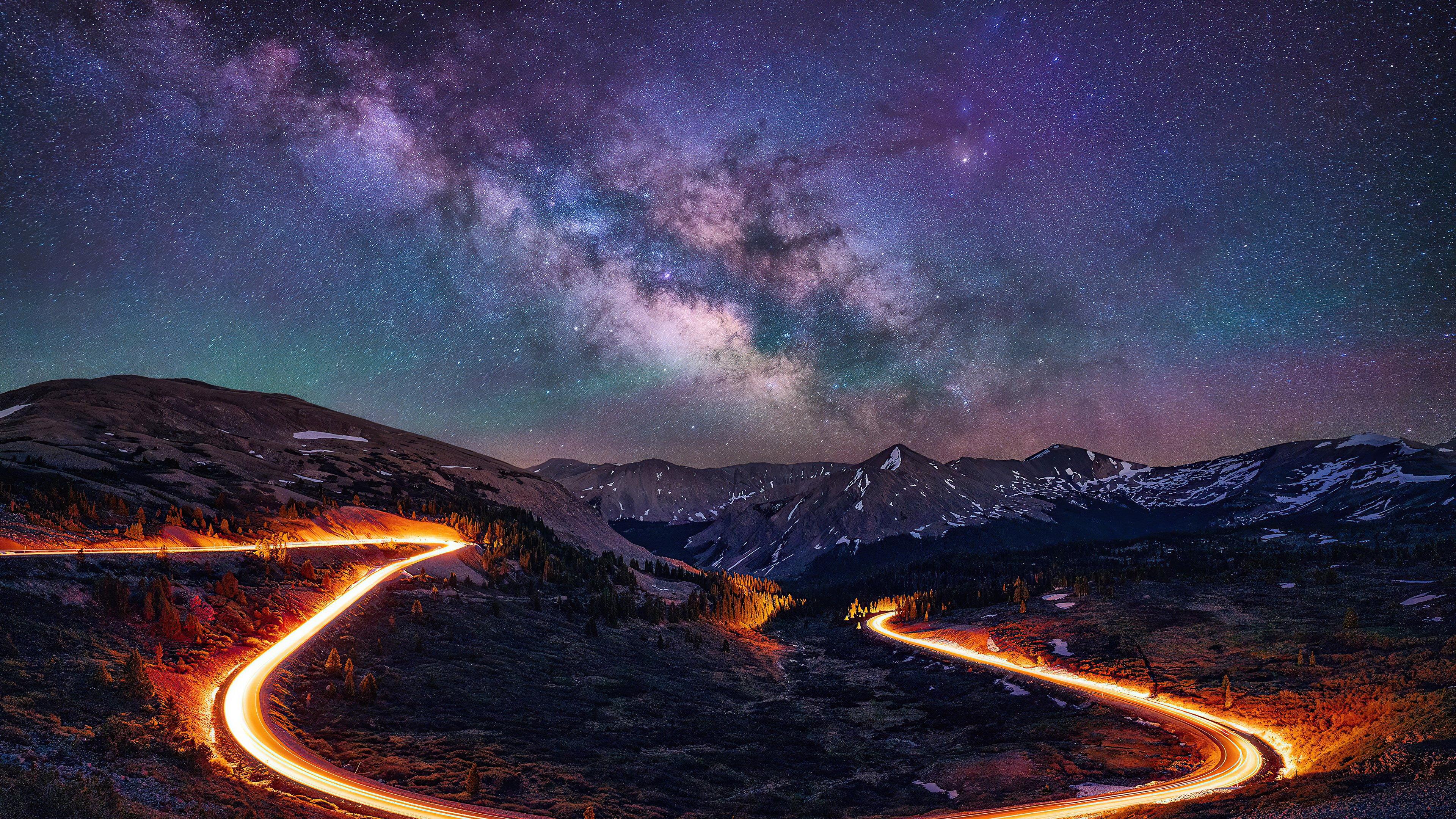 Fondos de pantalla Camino durante noche estrellada