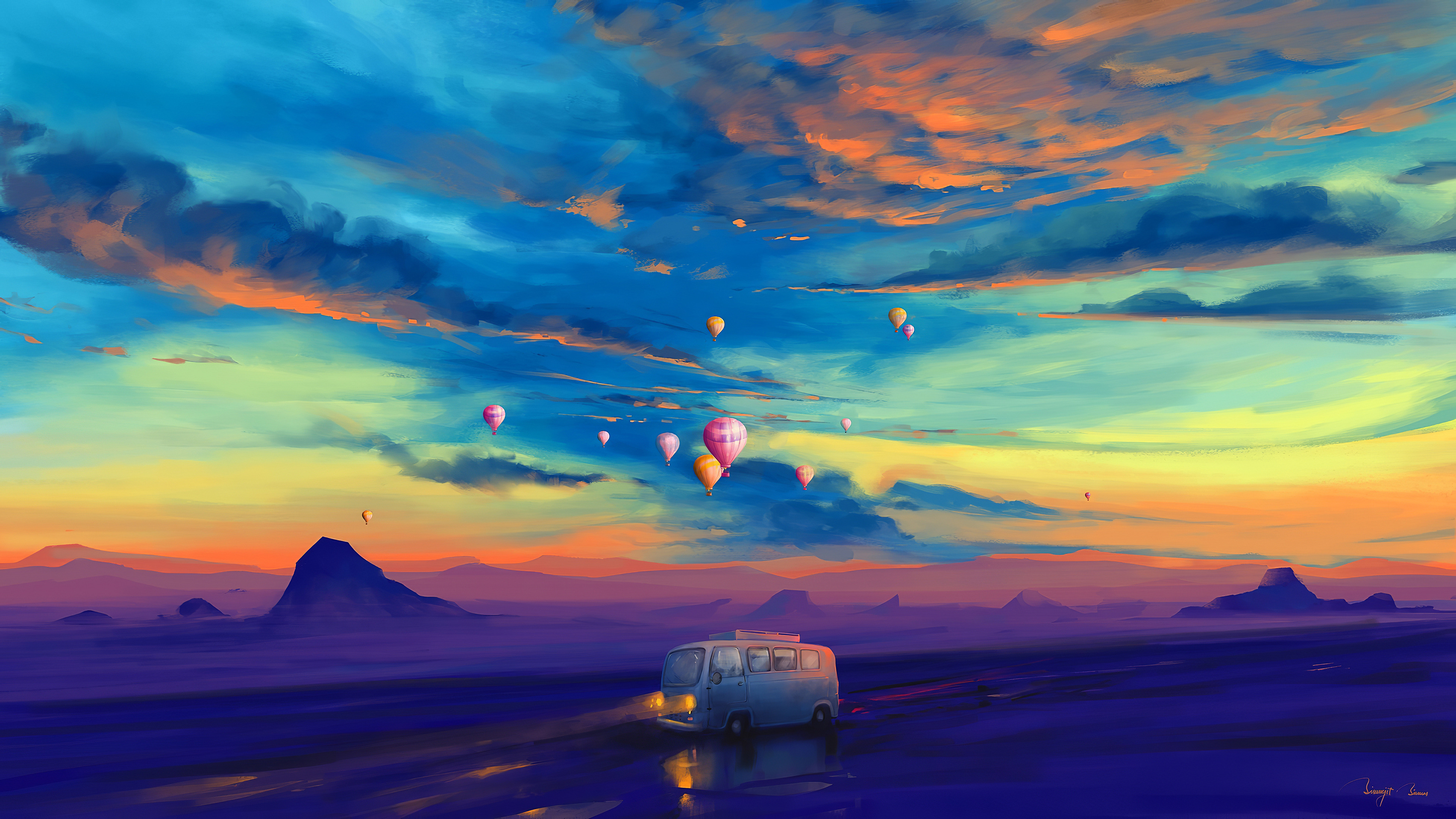 Fondos de pantalla Camioneta y globos aerostaticos en un atardecer colorido