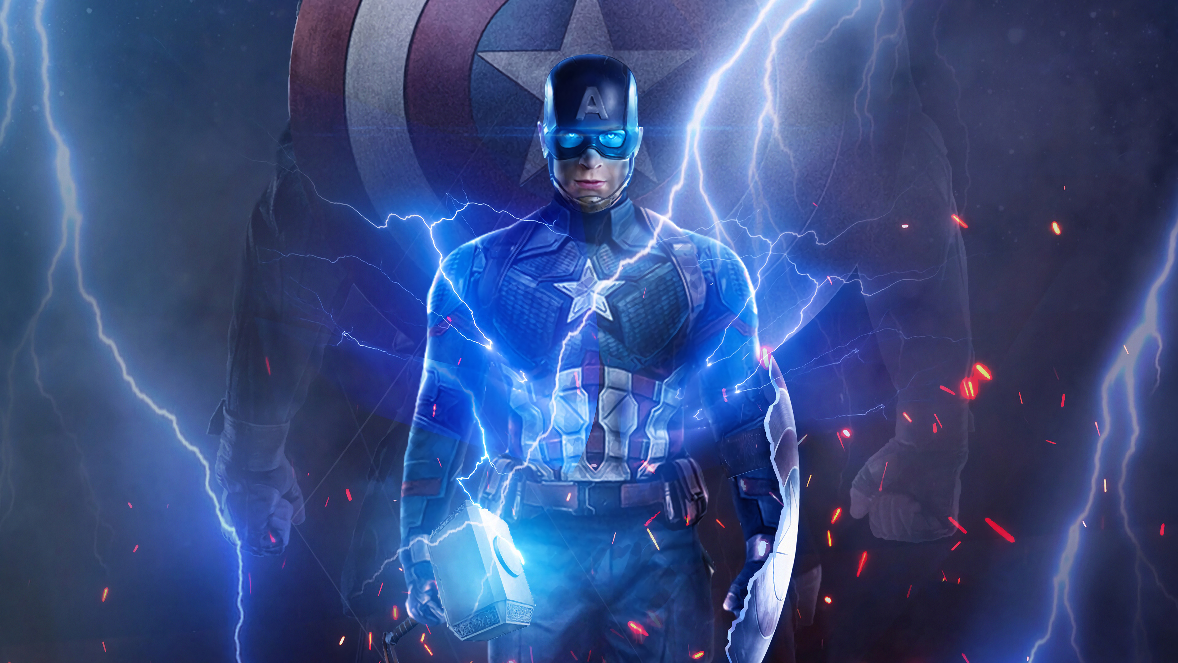 Wallpaper Captain America with Thor's hammer