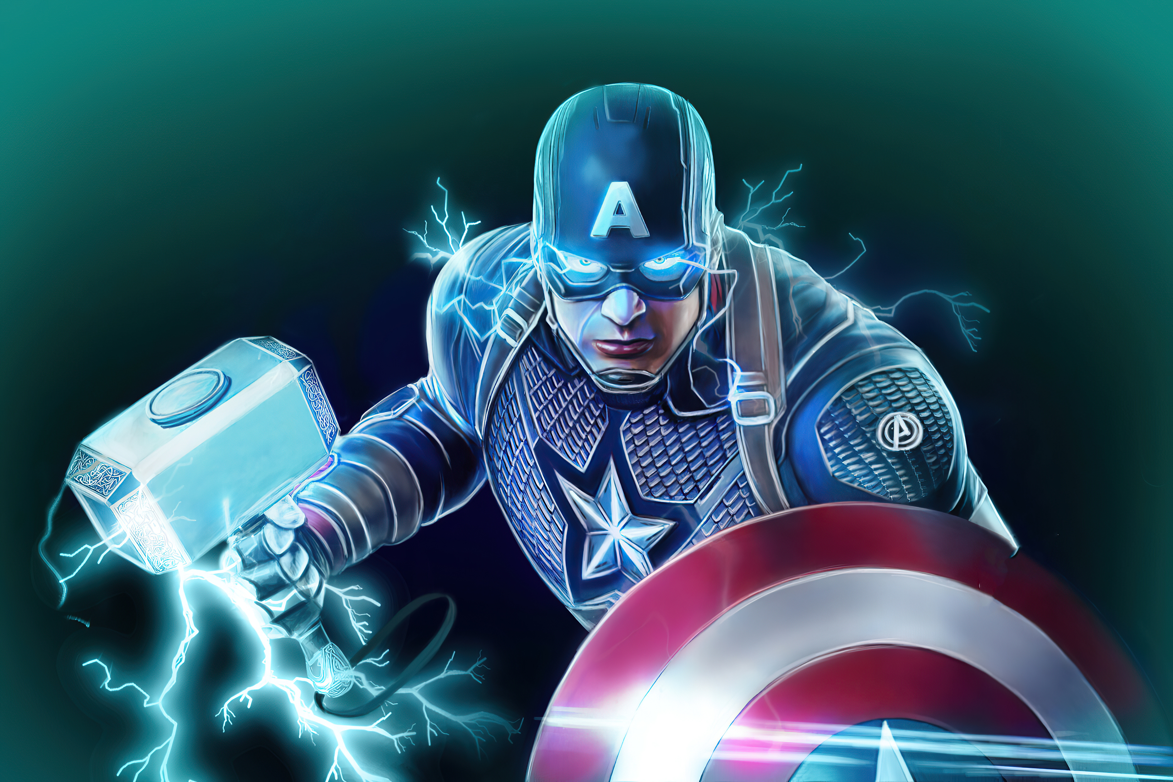 Fondos de pantalla Capitan America con escudo y el martillo de Thor