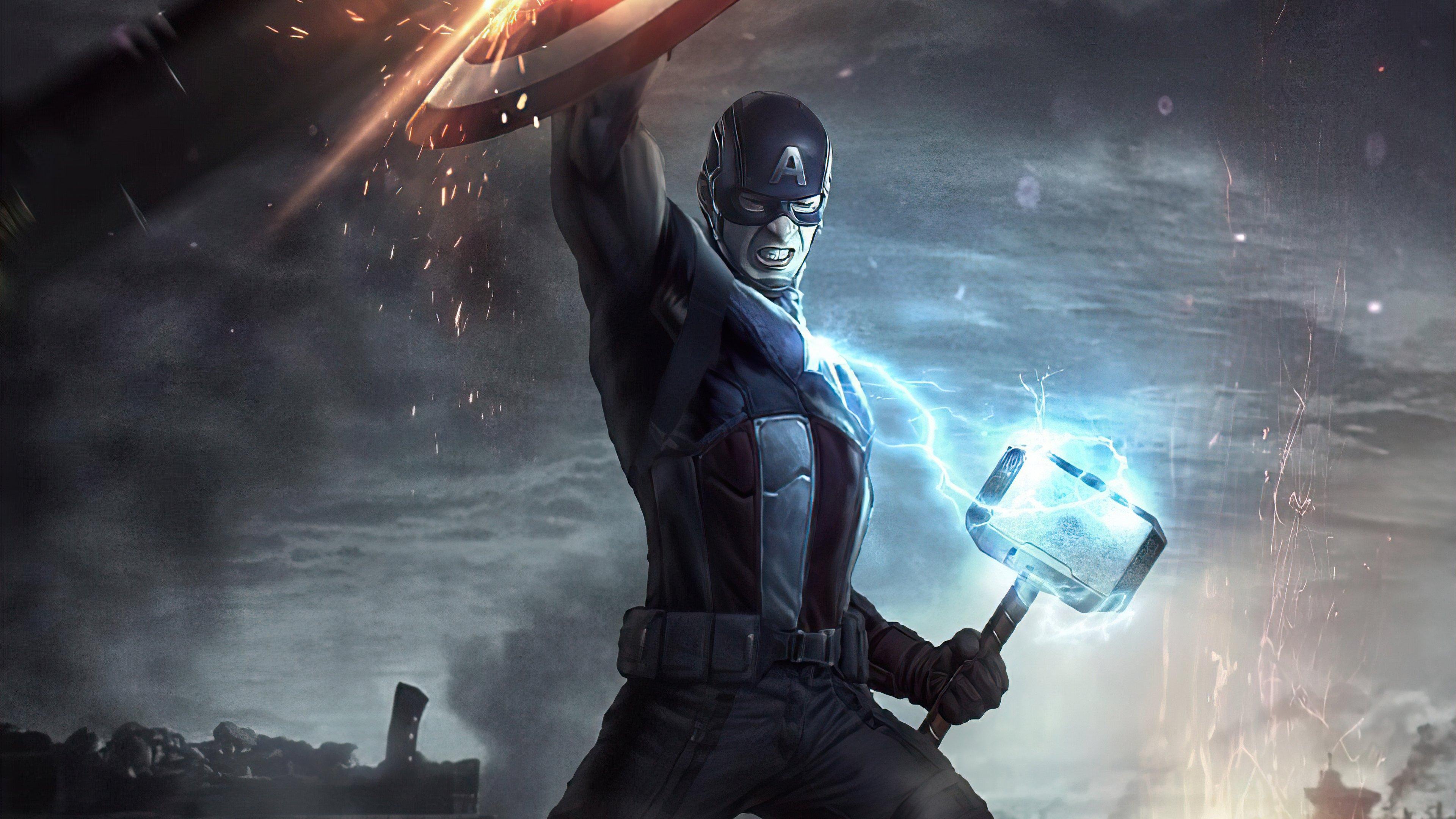 Fondos de pantalla Capitan America con martillo de Thor 2020