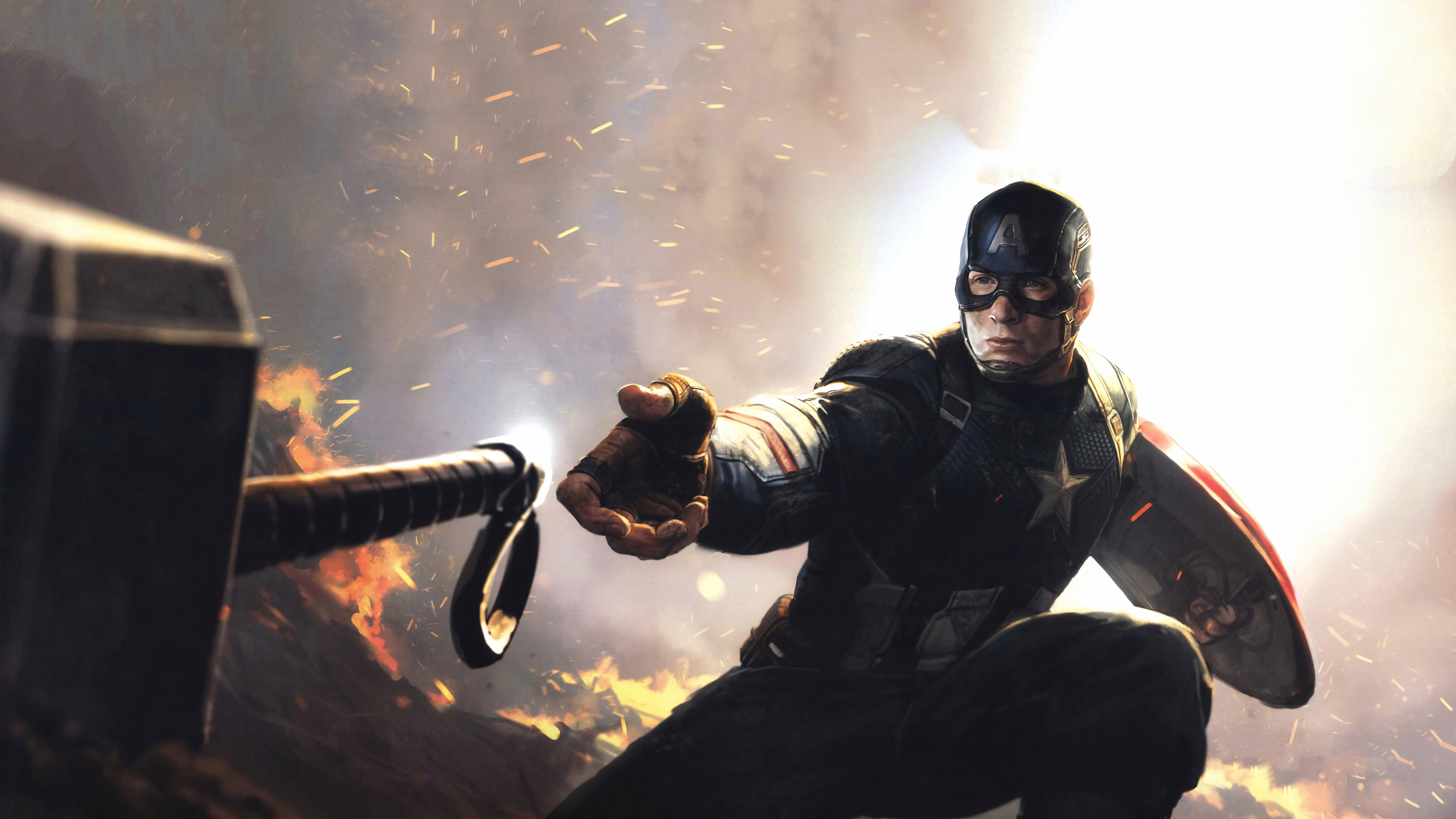 Fondos de pantalla Capitan America con martillo de Thor