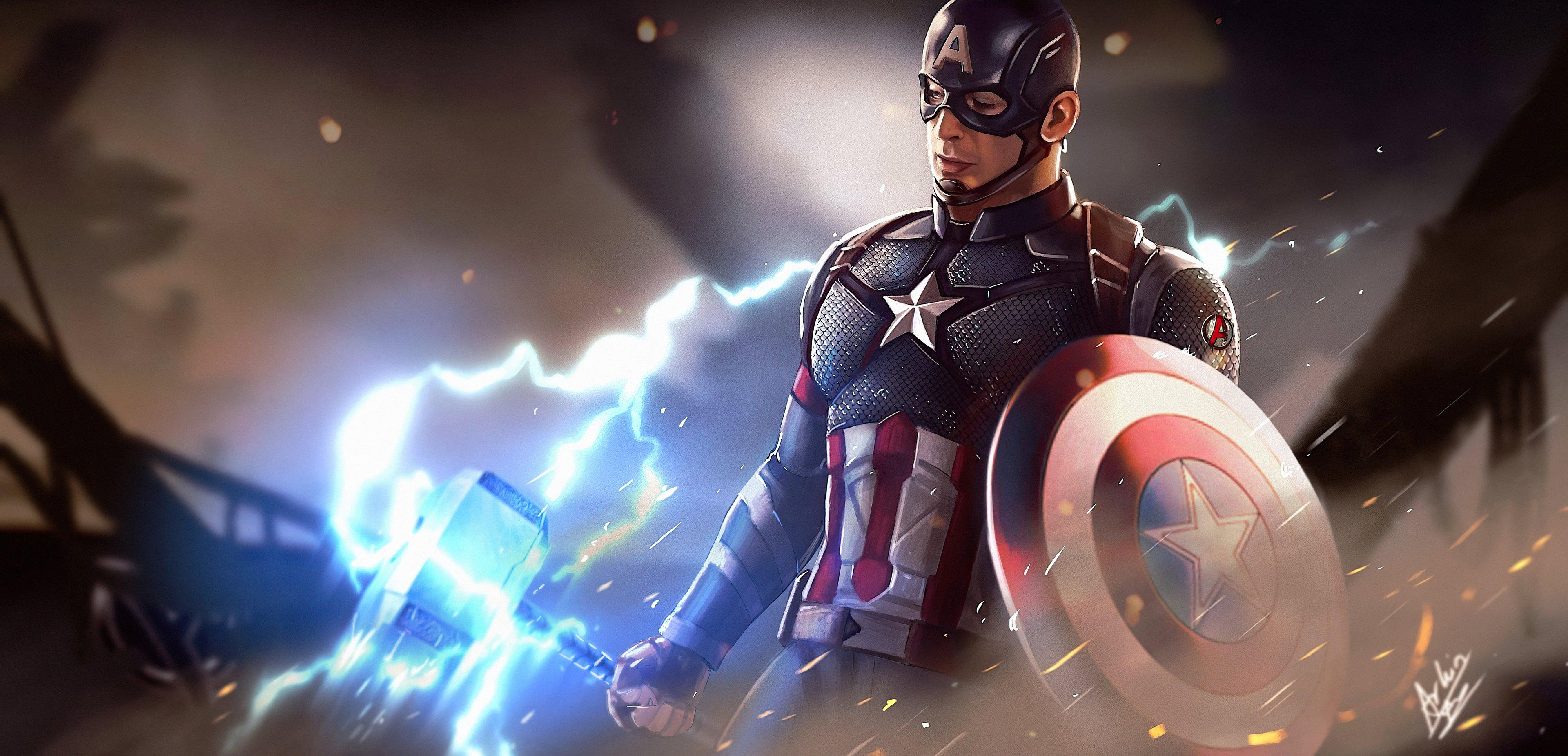 Fondos de pantalla Capitán America con martillo de Thor Fanart