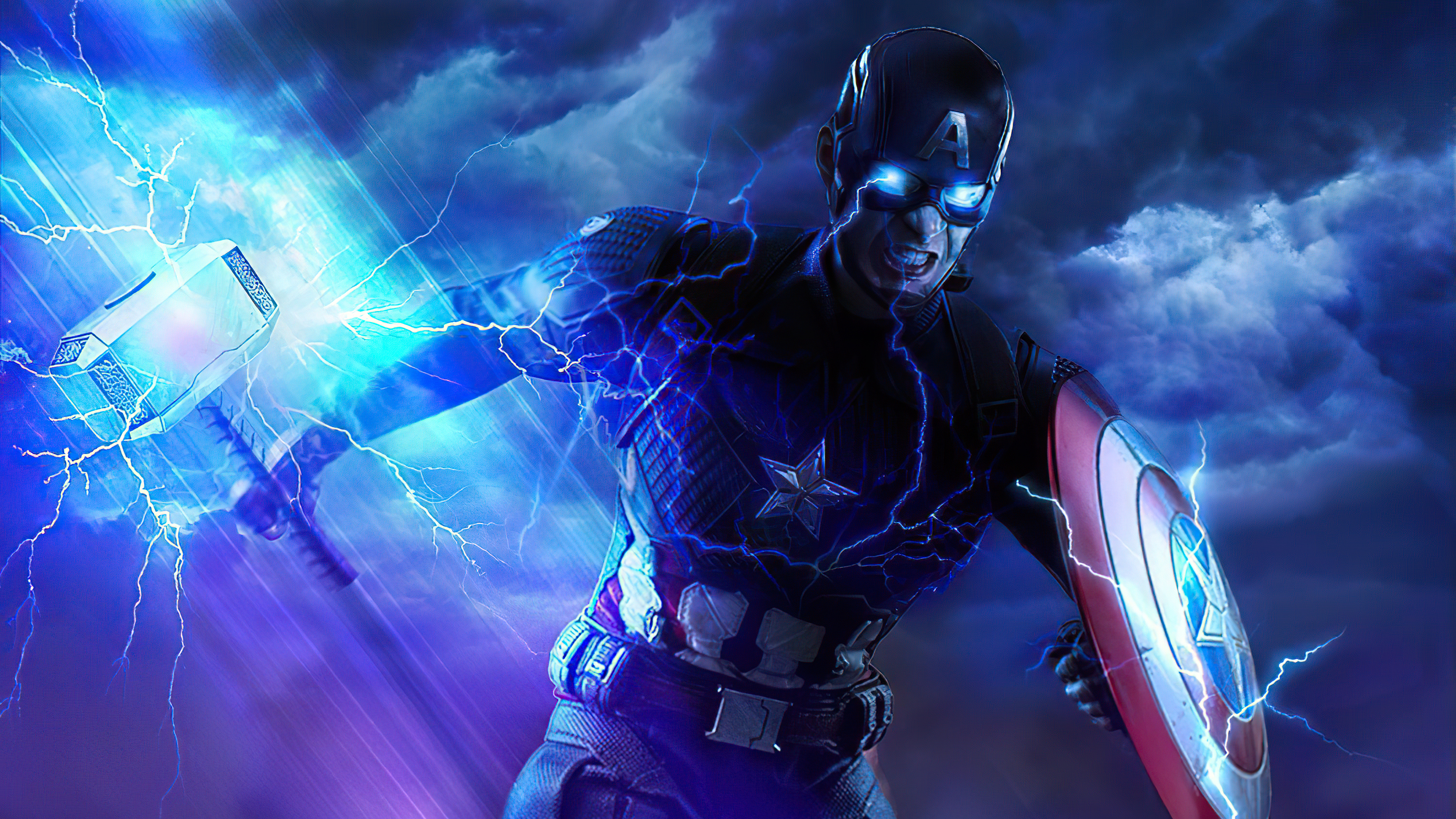 Wallpaper Captain America with hammer and shield