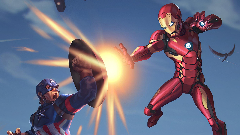 Fondos de pantalla Capitán America contra Iron Man