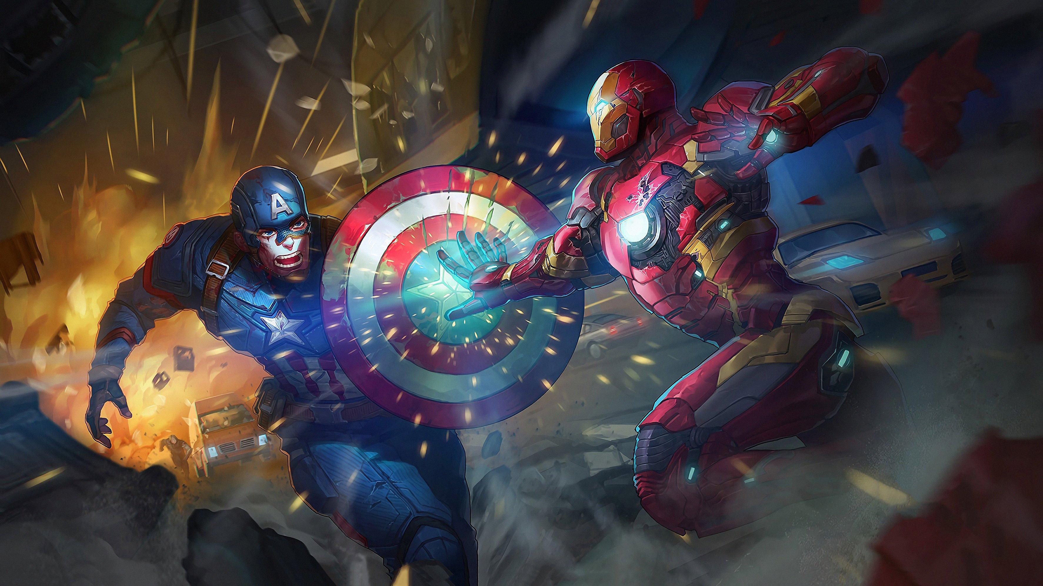Fondos de pantalla Capitan America contra Iron Man