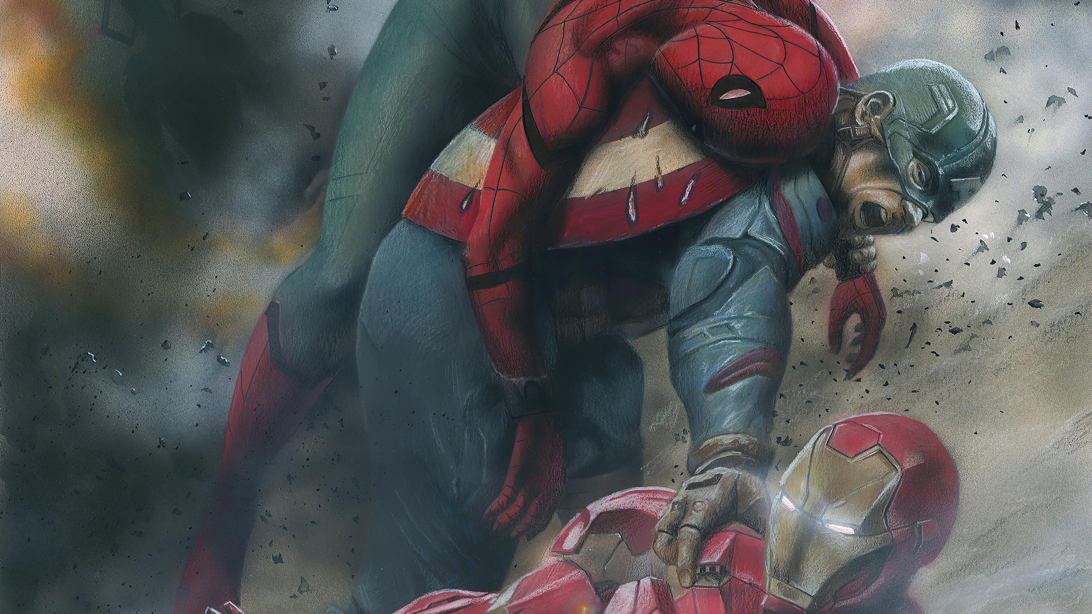 Fondos de pantalla Capitan America, El hombre araña y Iron Man en lucha