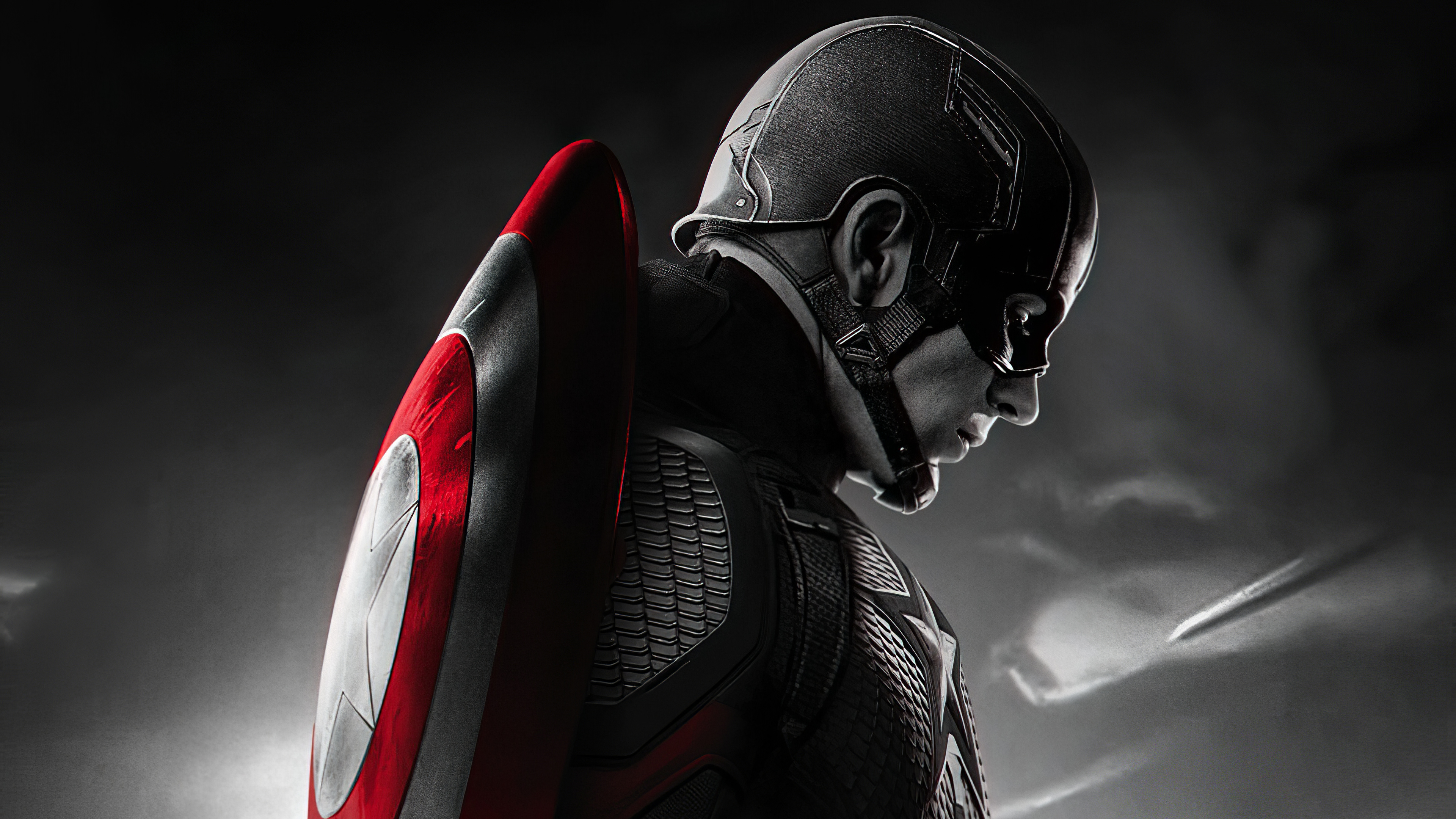 Fondos de pantalla Capitan America en escala de grises y rojo
