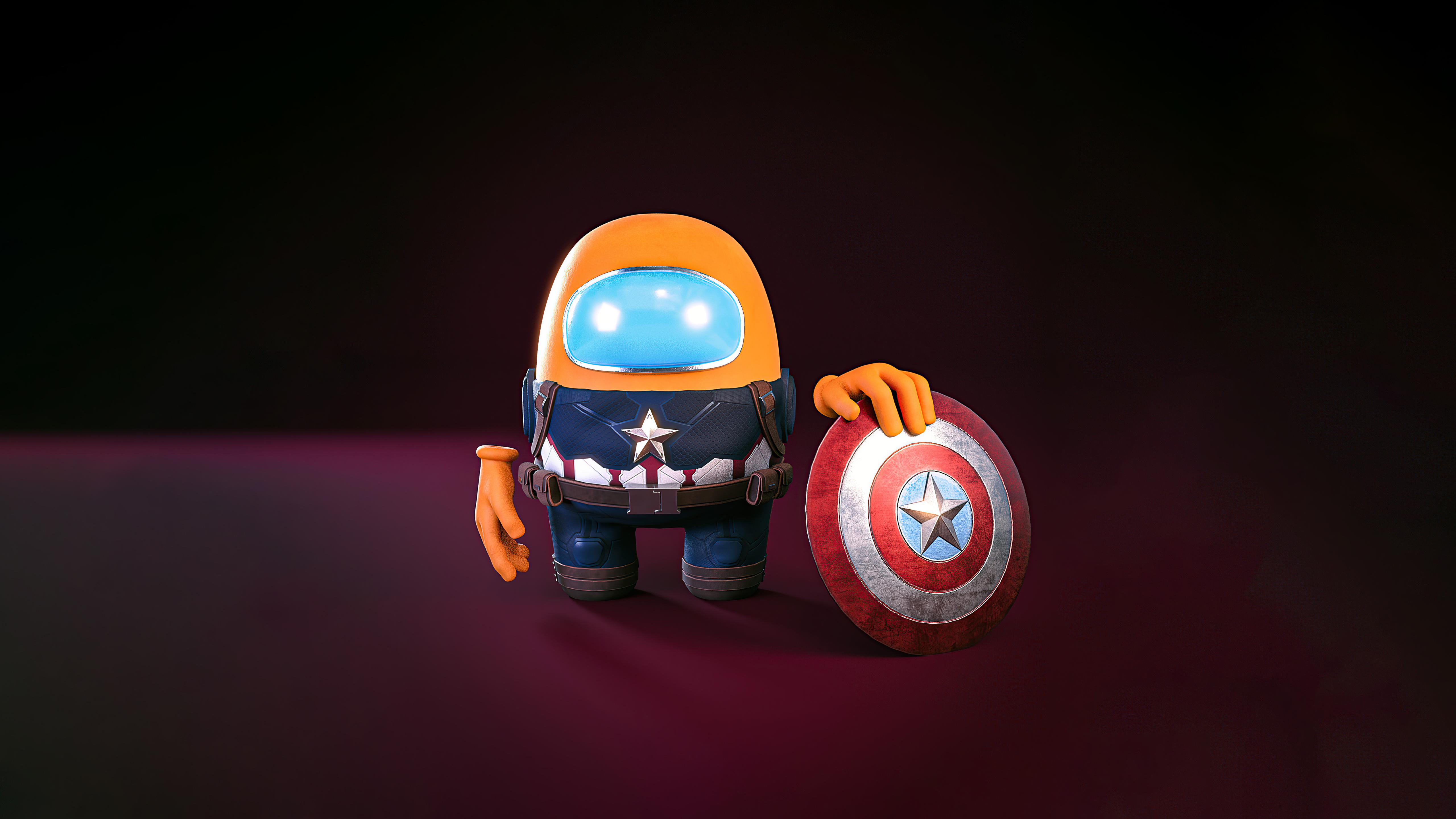 Fondos de pantalla Capitán America estilo Among us