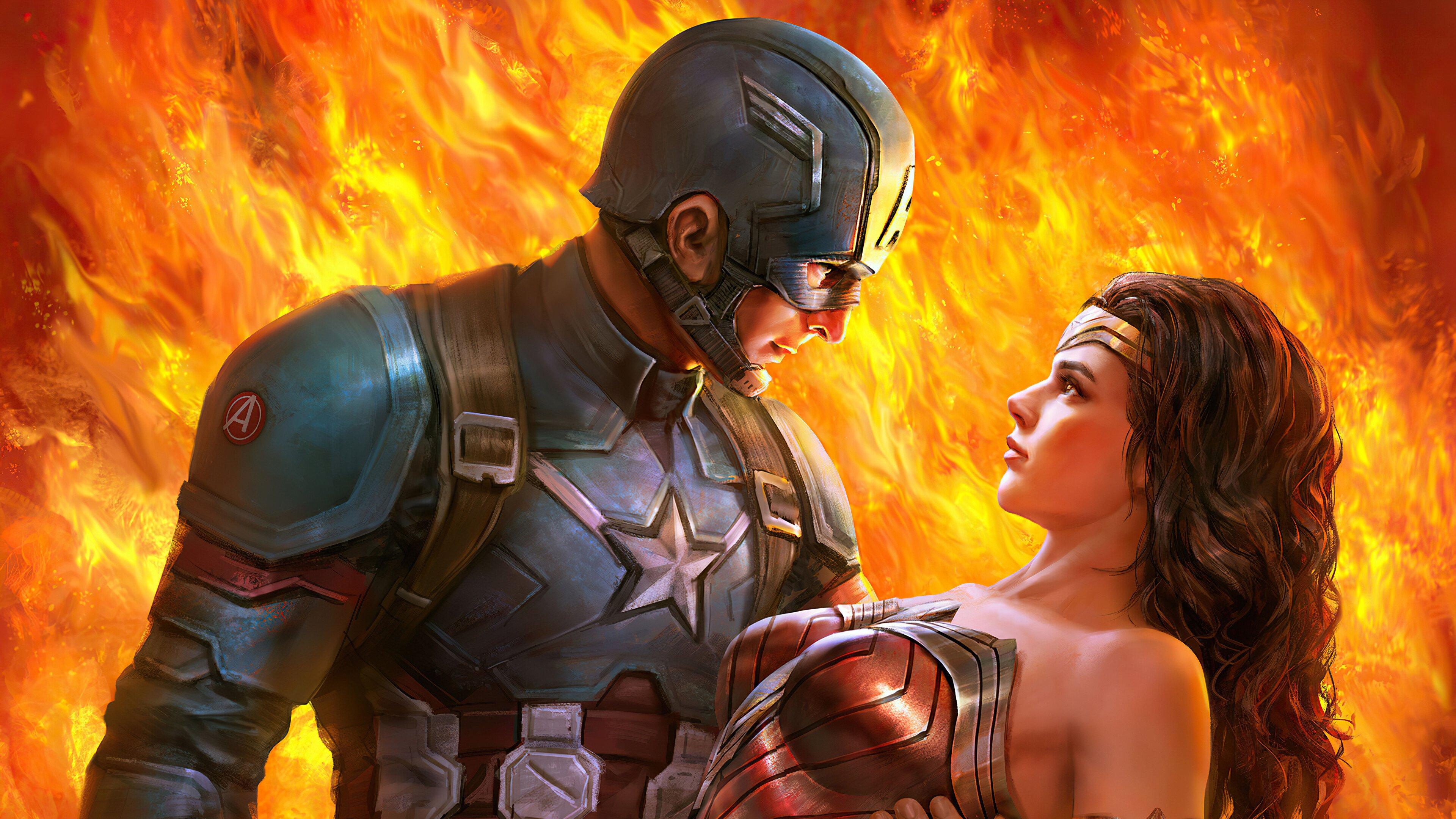 Fondos de pantalla Capitan America y la mujer maravilla