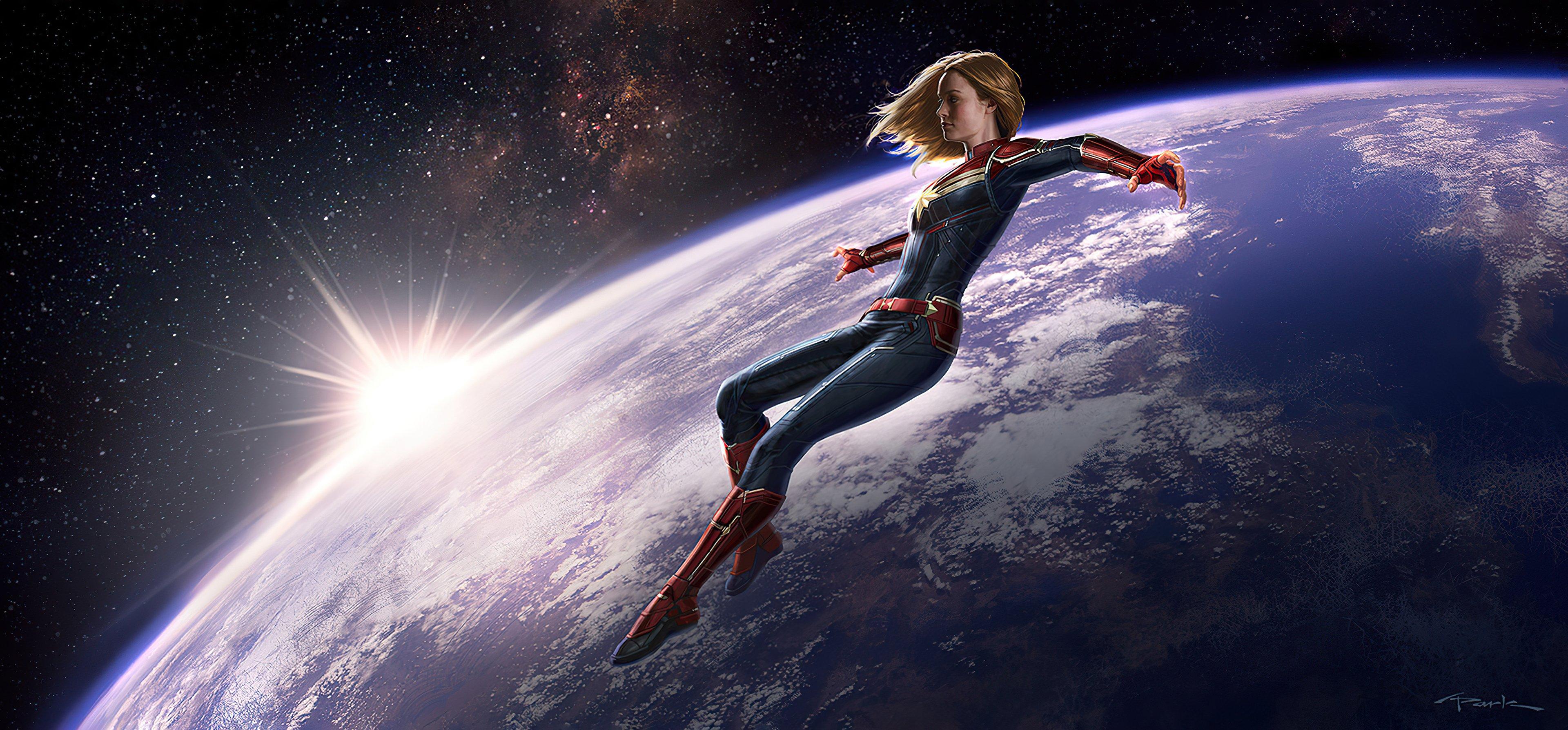 Fondos de pantalla Capitana Marvel fuera de la tierra