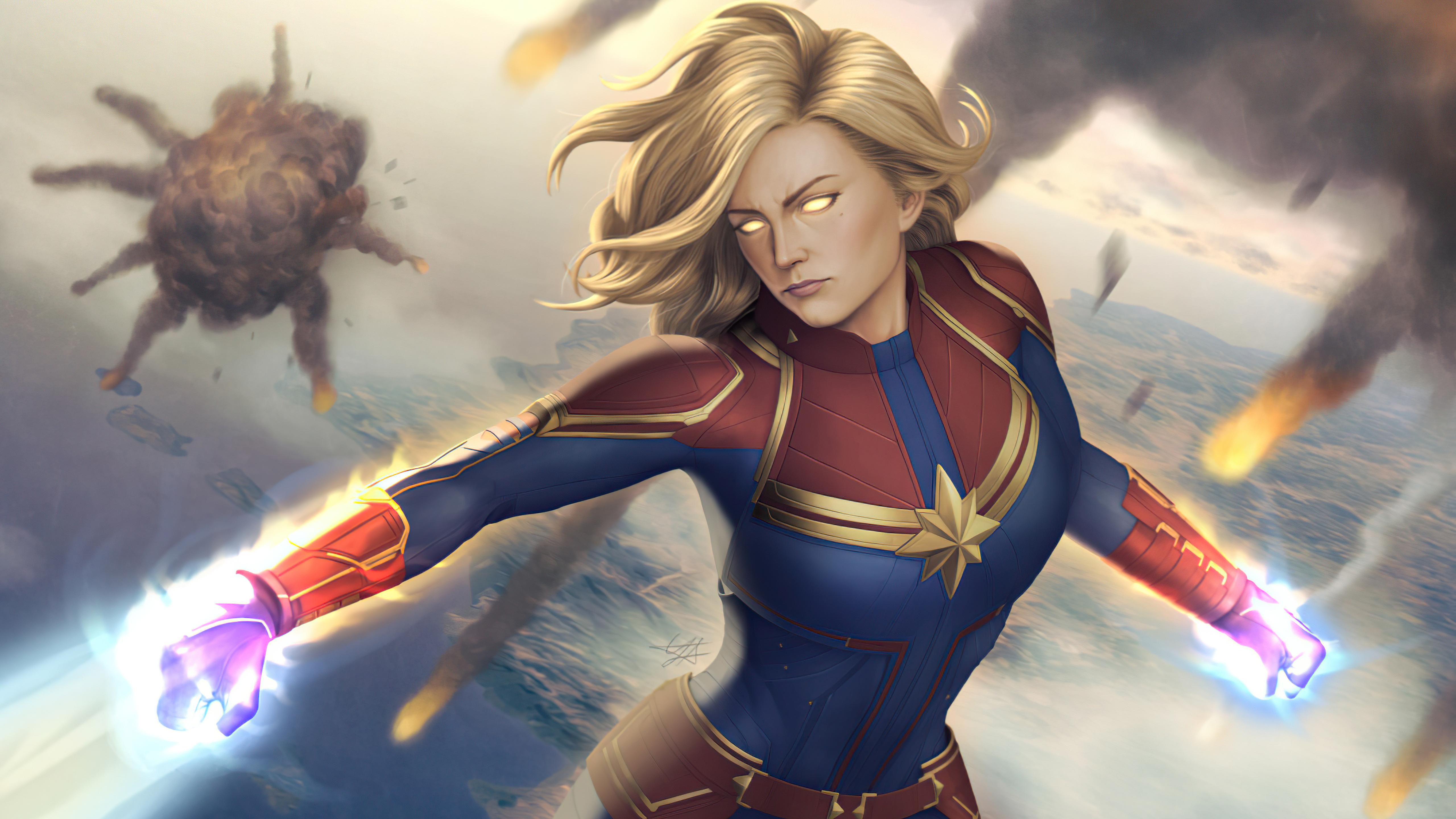 Wallpaper Captain Marvel Illustration