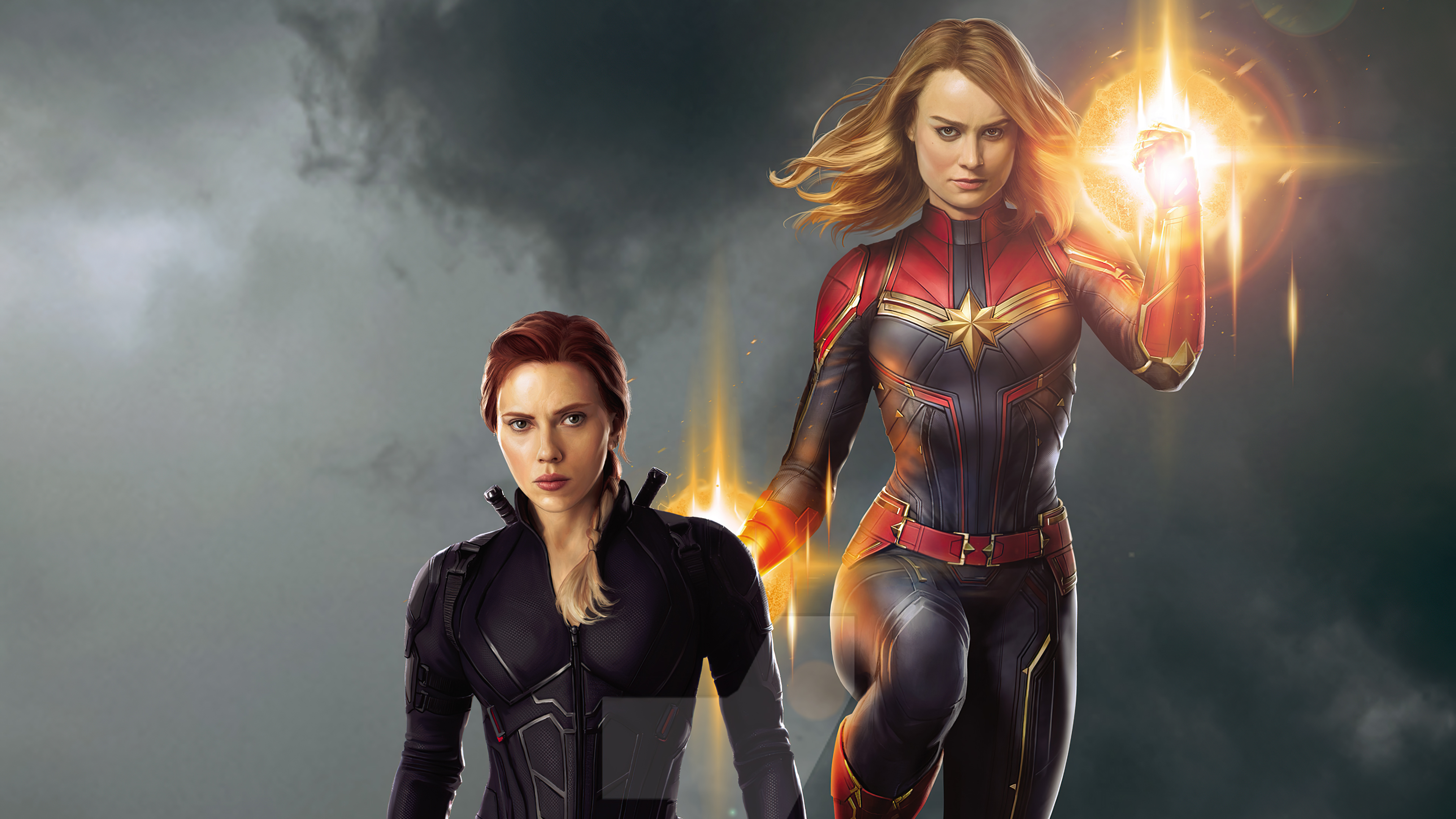 Wallpaper Captain Marvel and Black Widow