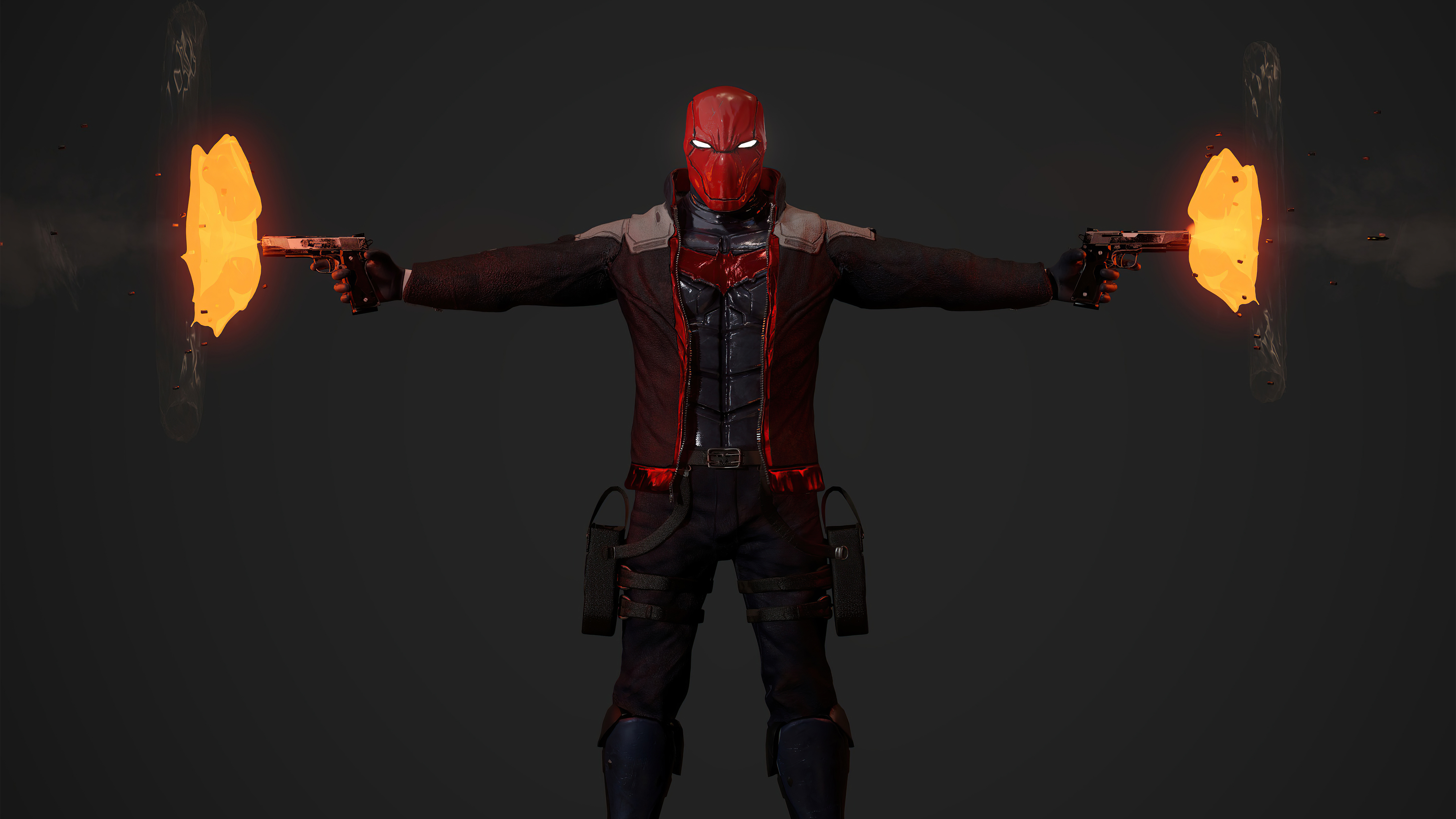 Wallpaper Red hood with guns in both hands