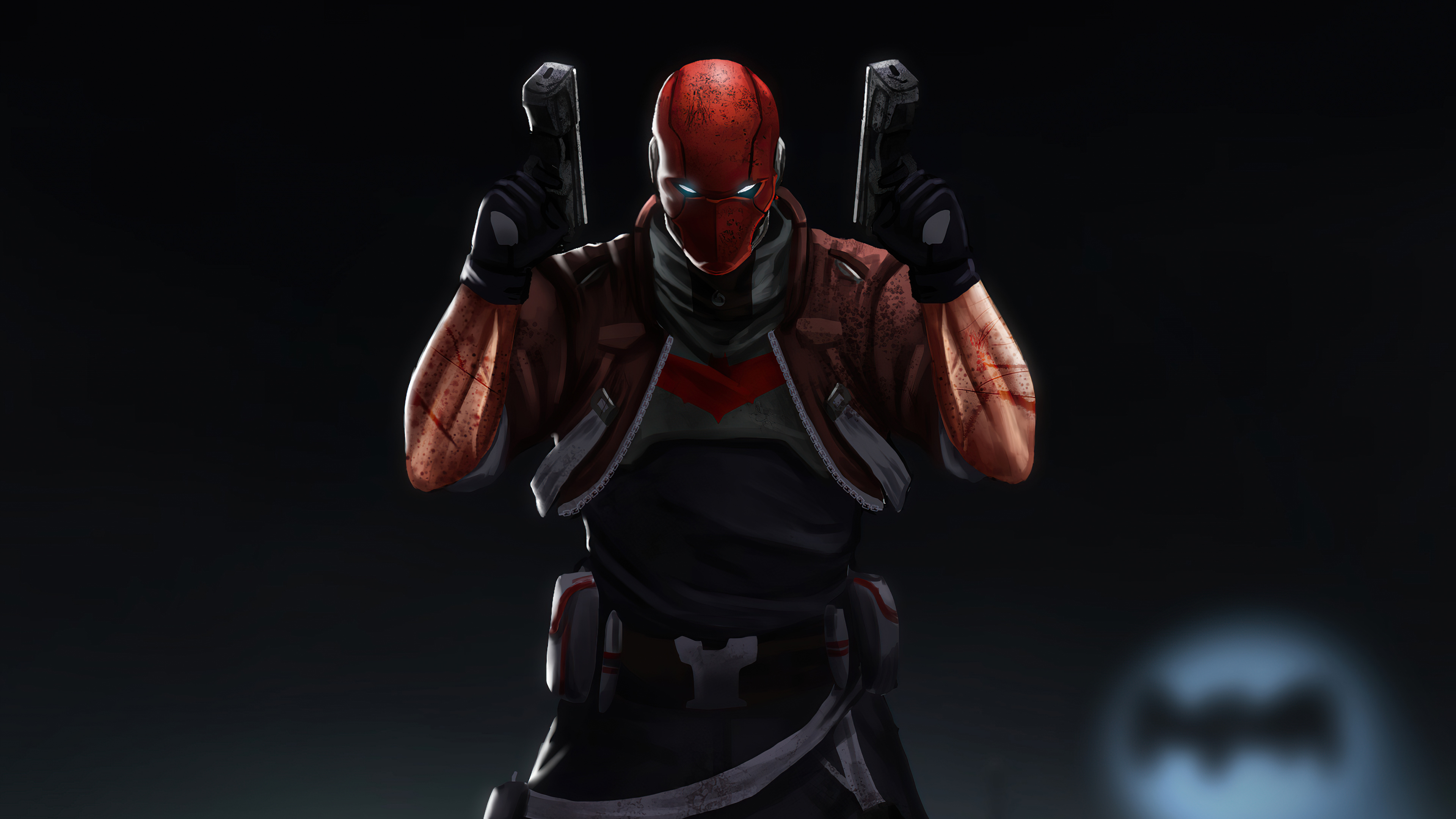 Wallpaper Red hood with two guns