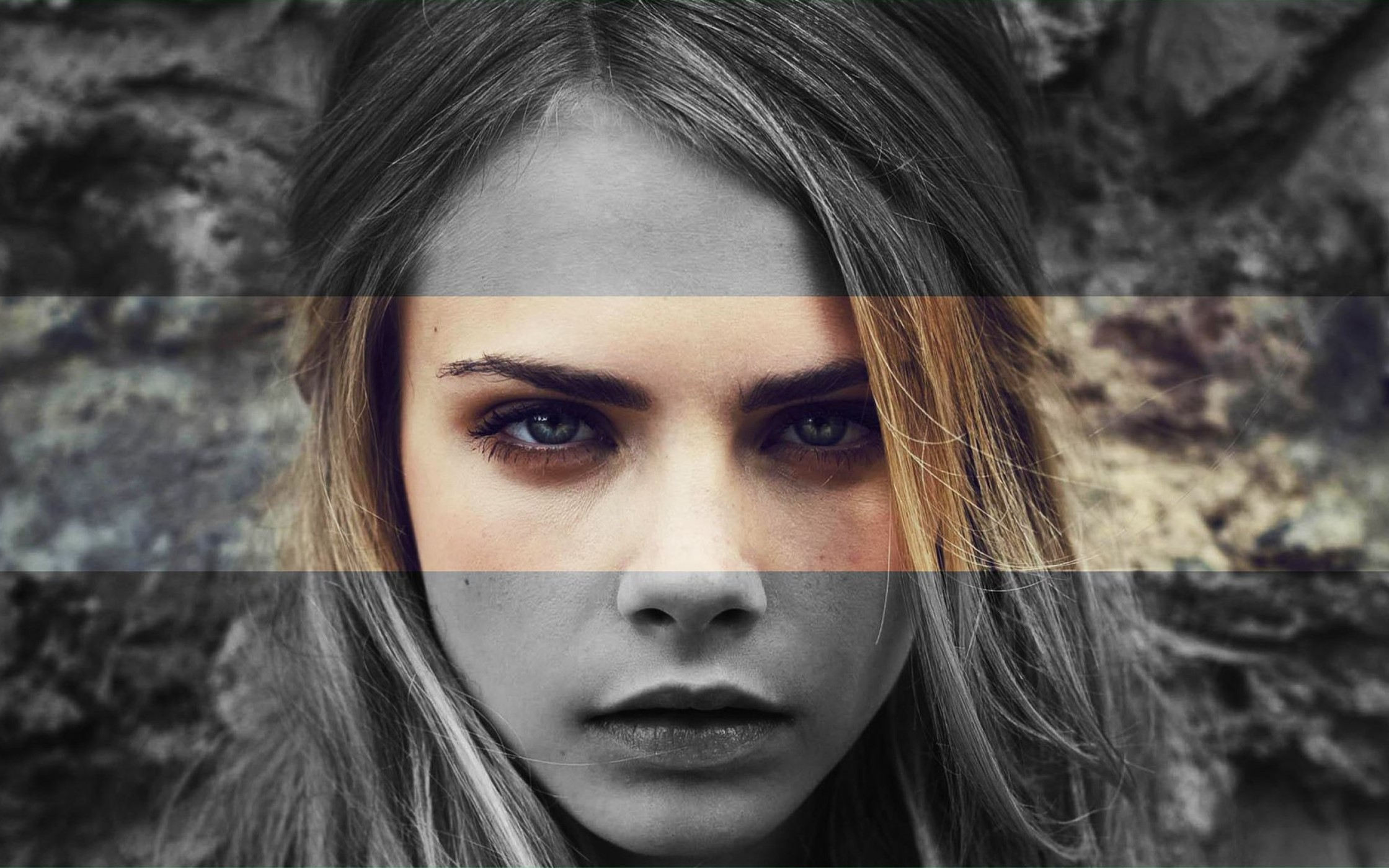 Wallpaper Cara Delevingne in black and white and in color