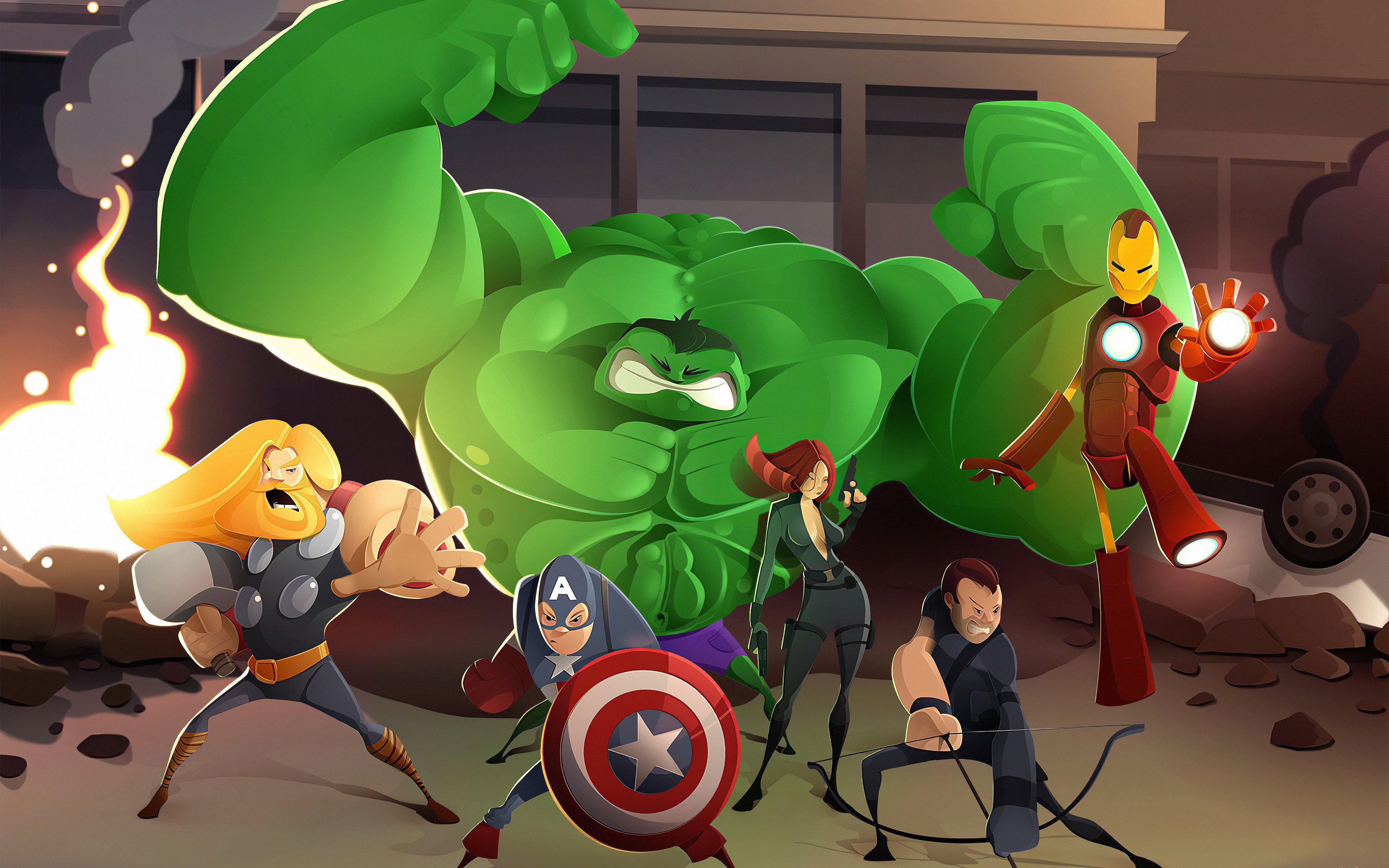Wallpaper Cartoon of The Avengers