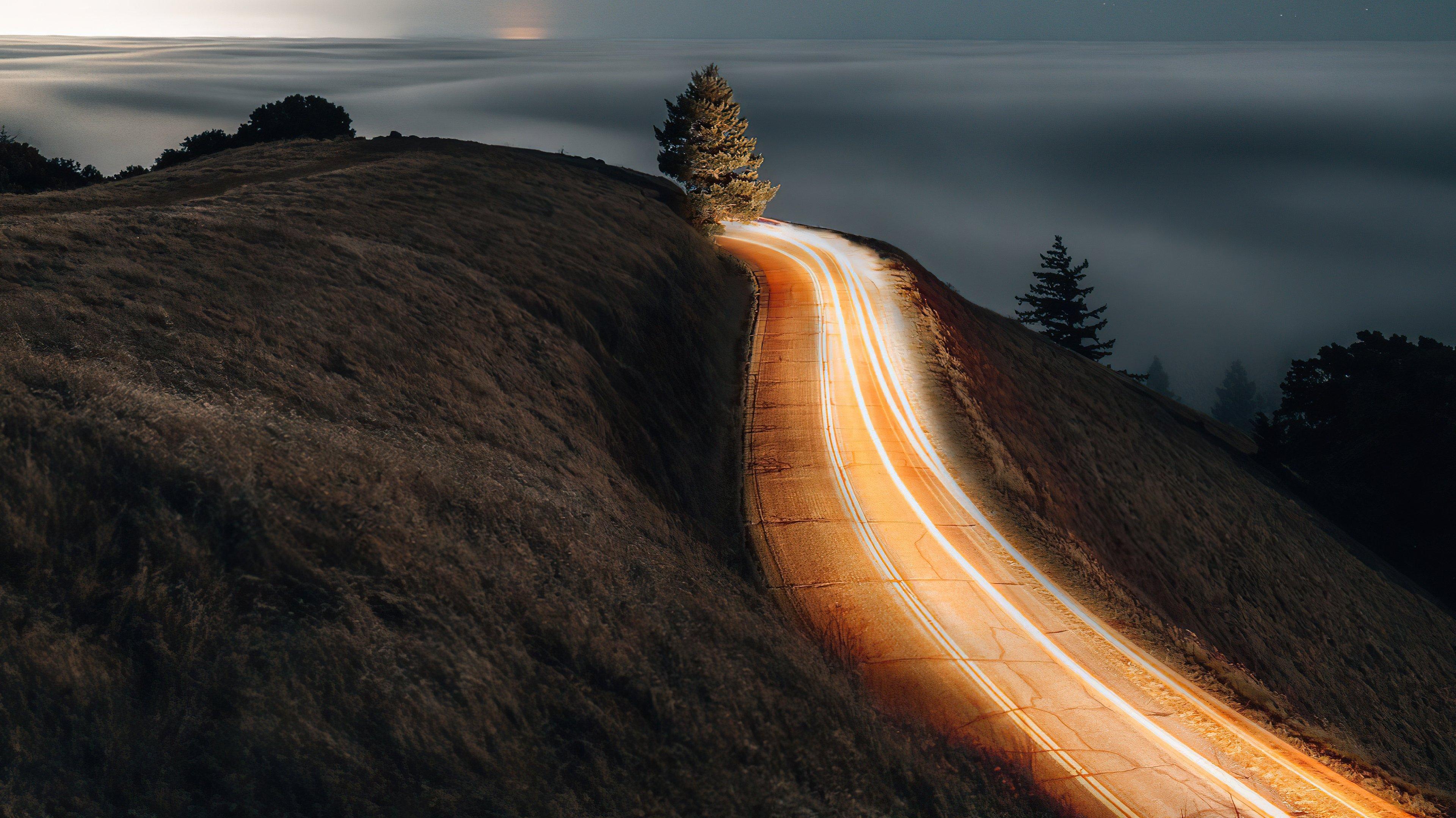 Fondos de pantalla Carretera al amanecer larga exposición