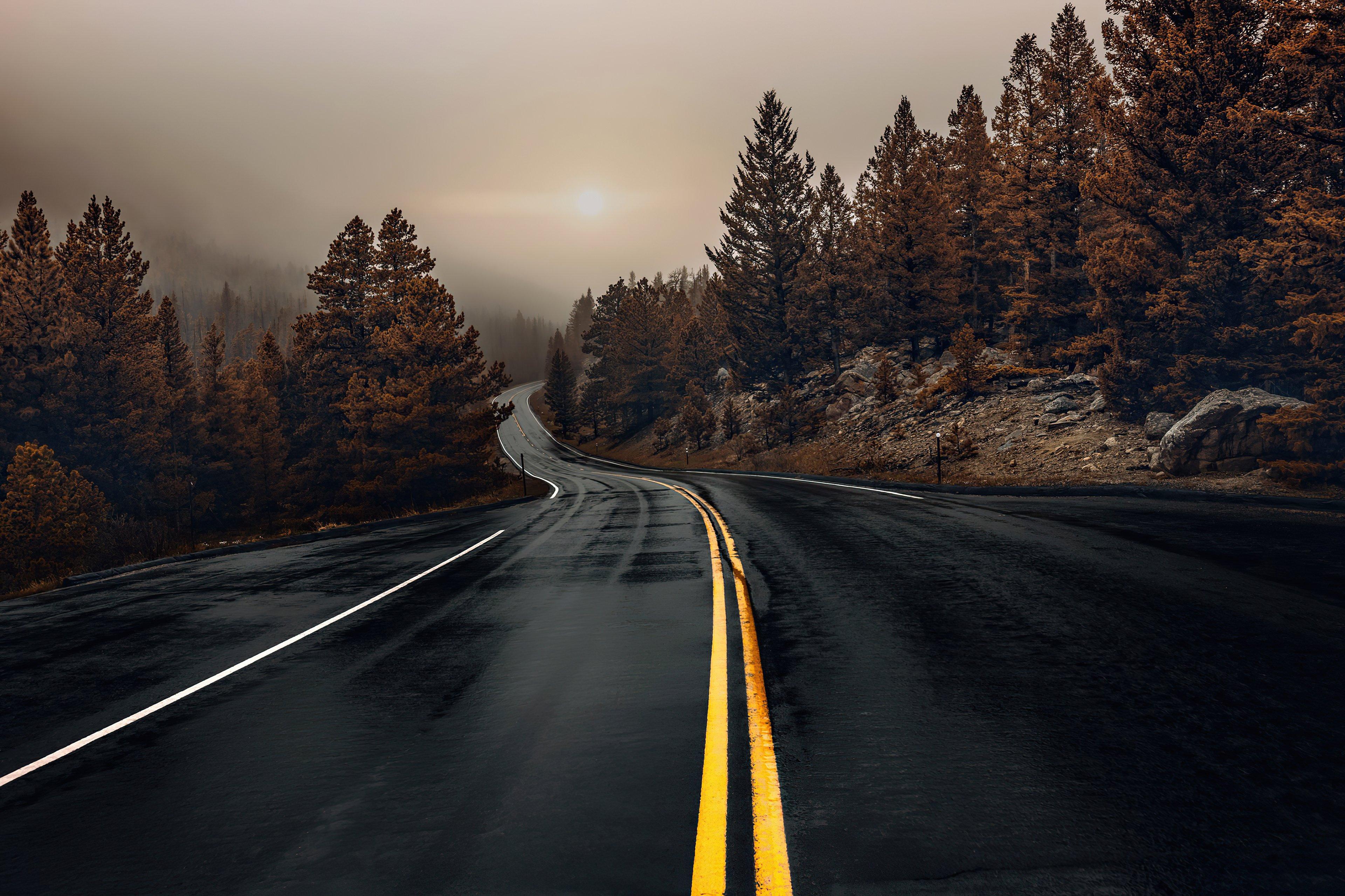 Wallpaper Highway in autumn