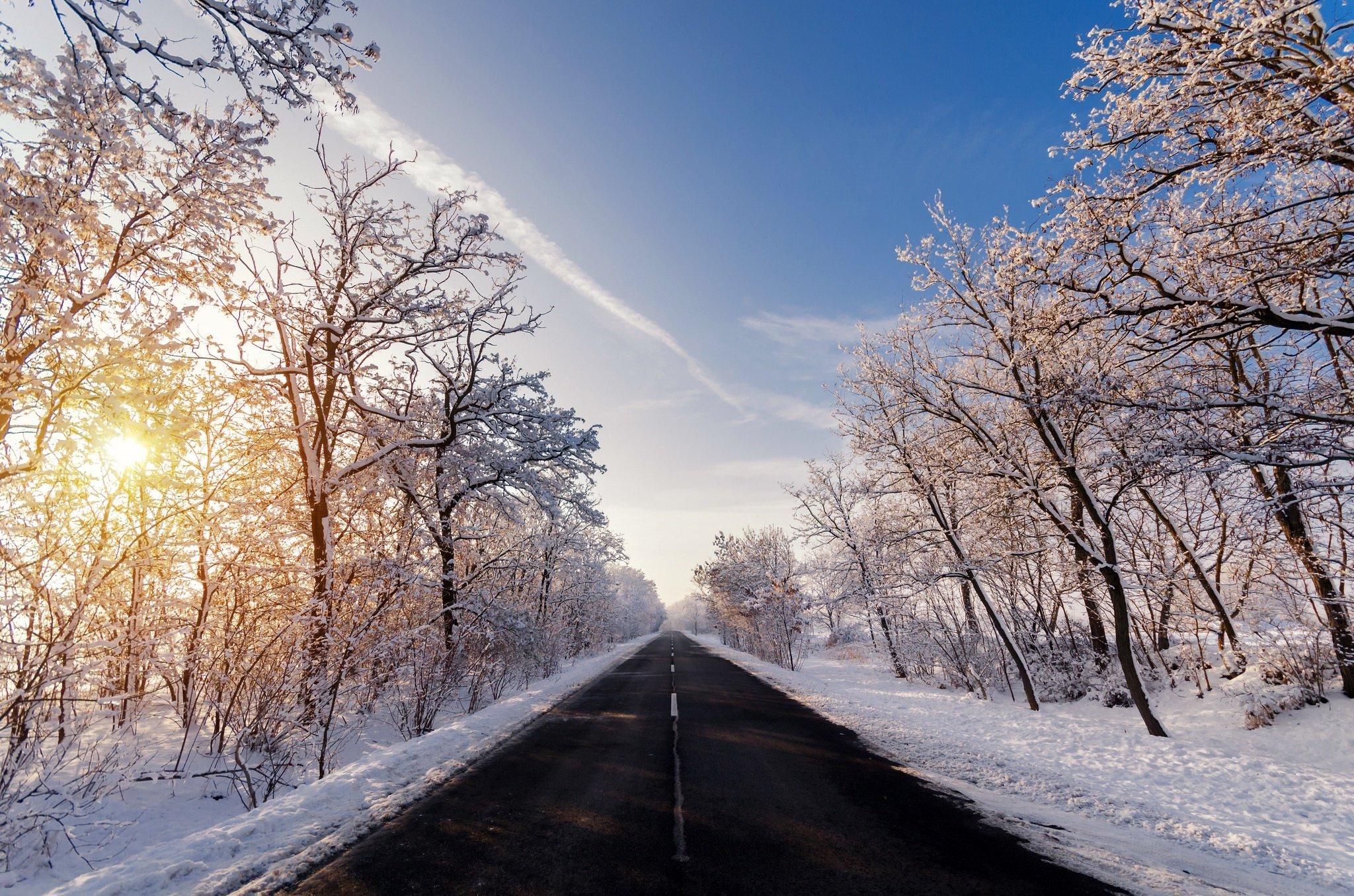 Fondos de pantalla Carretera en otoño invierno
