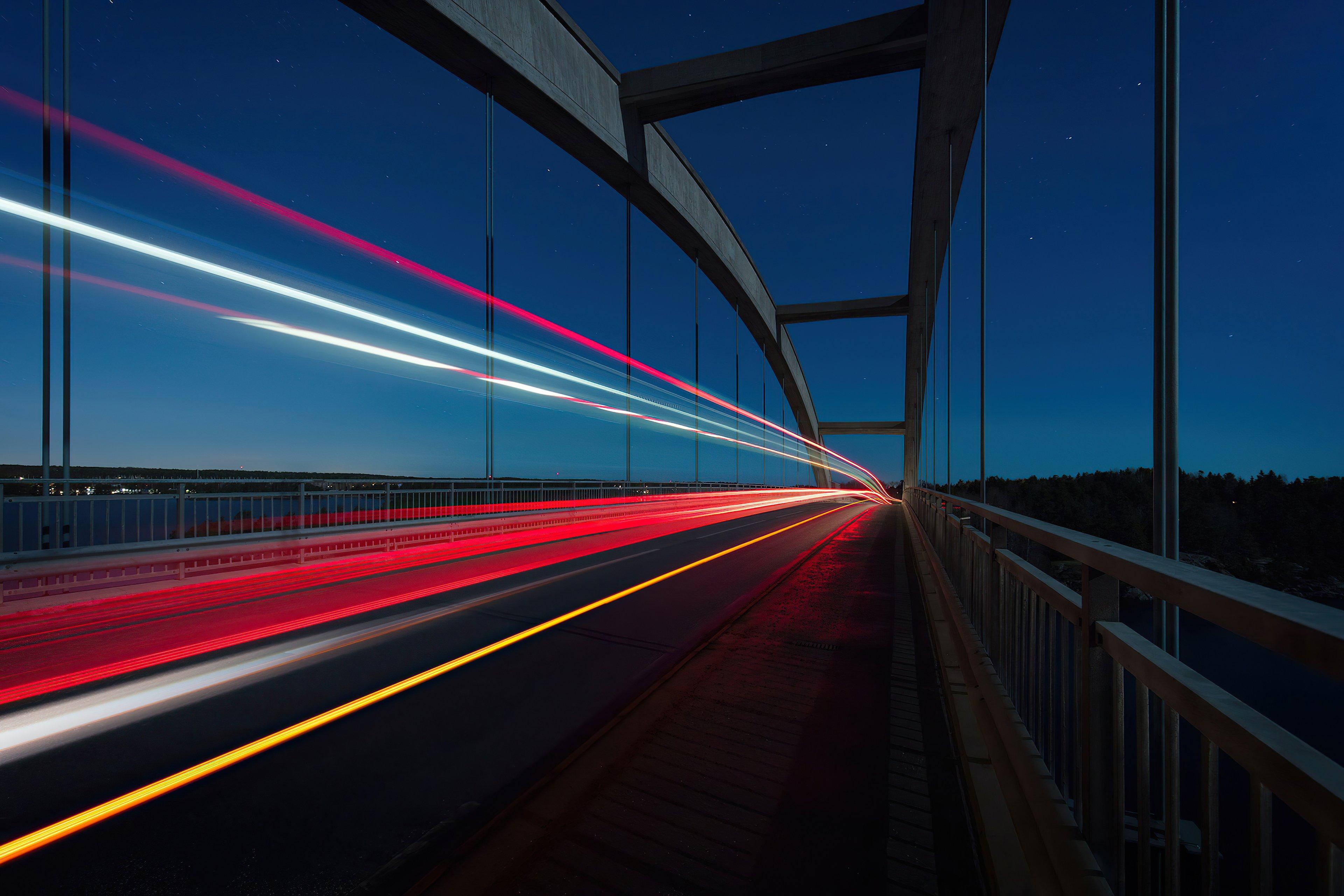 Wallpaper Highway Road Long Exposure