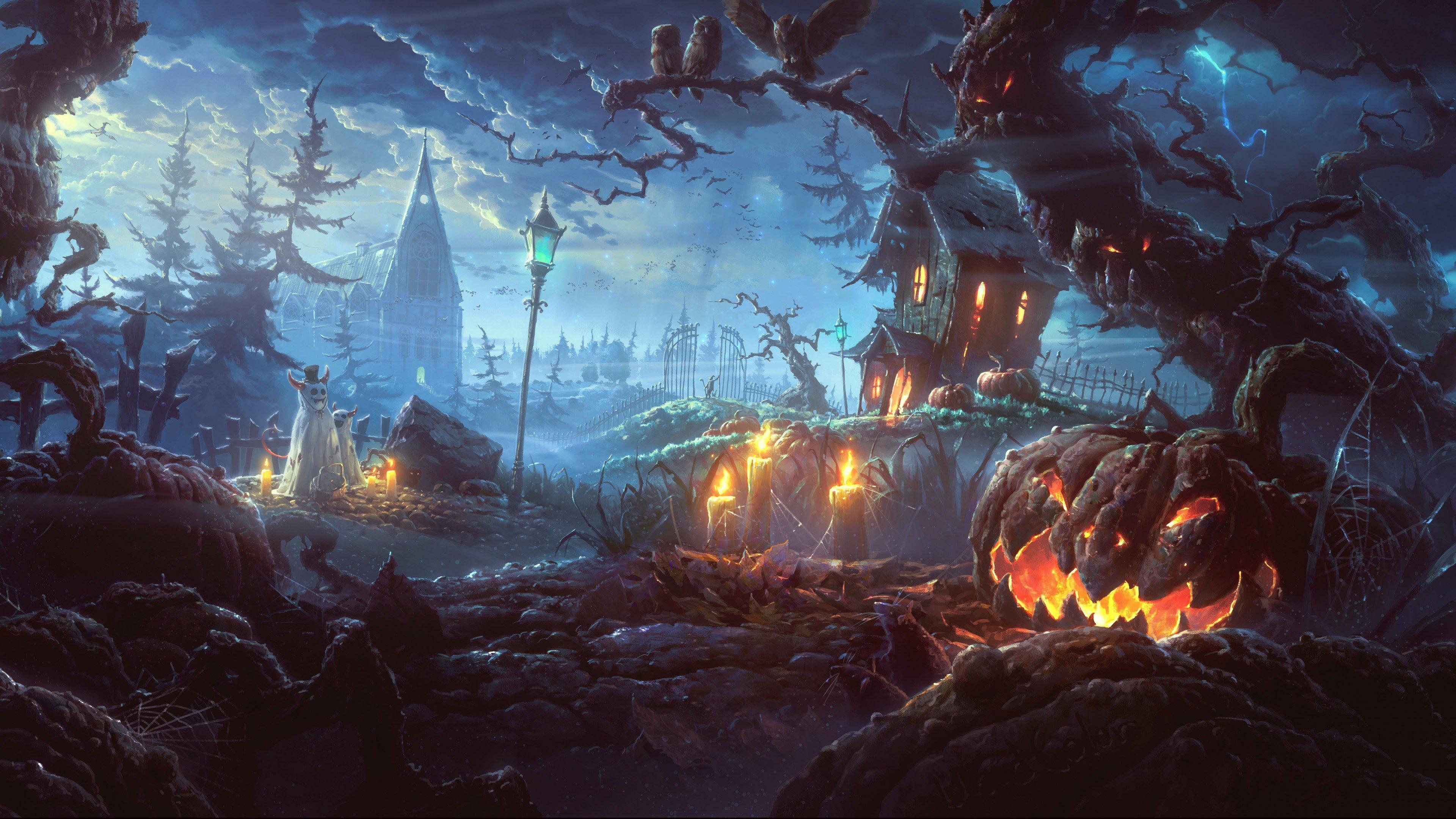 Fondos de pantalla Casa embrujada en Halloween