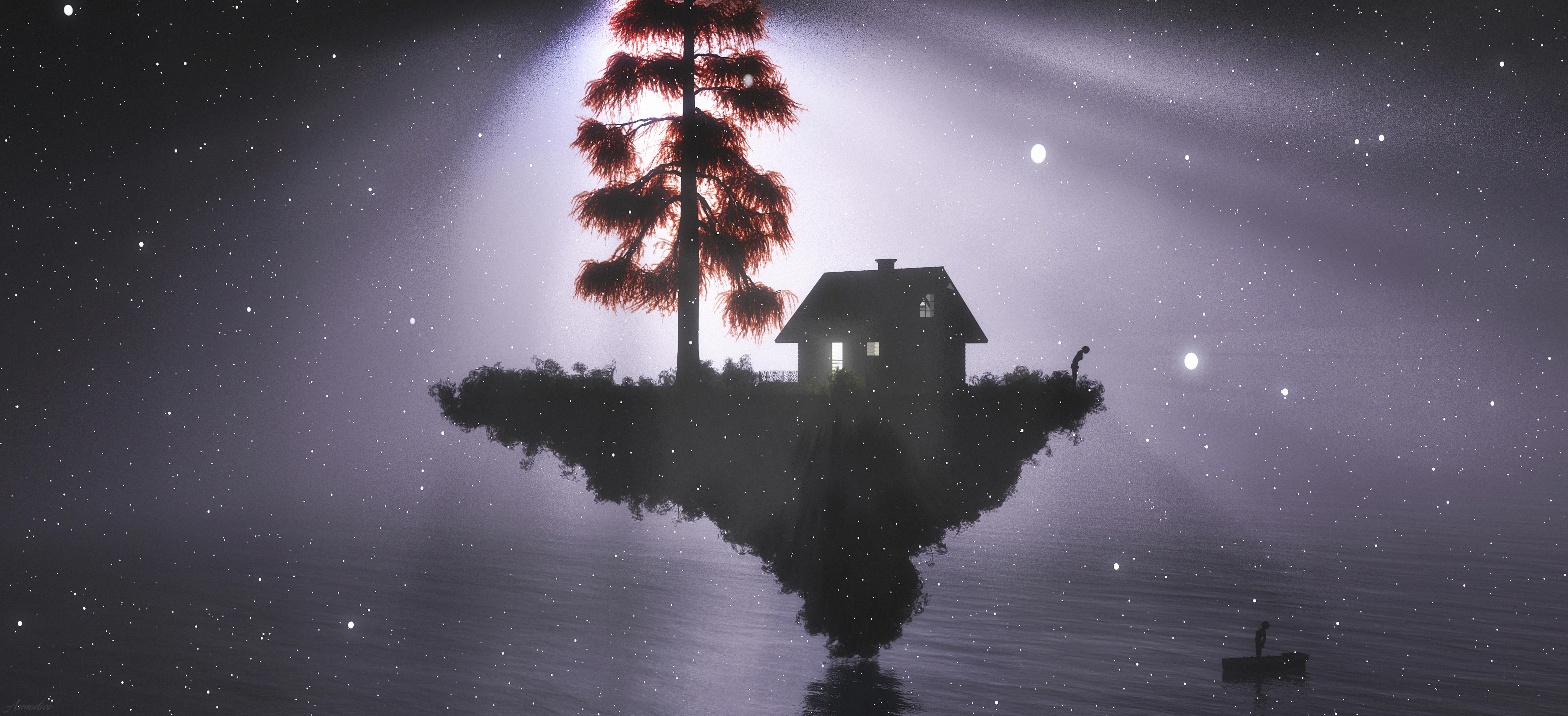 Fondos de pantalla Casa entre la luz y la oscuridad