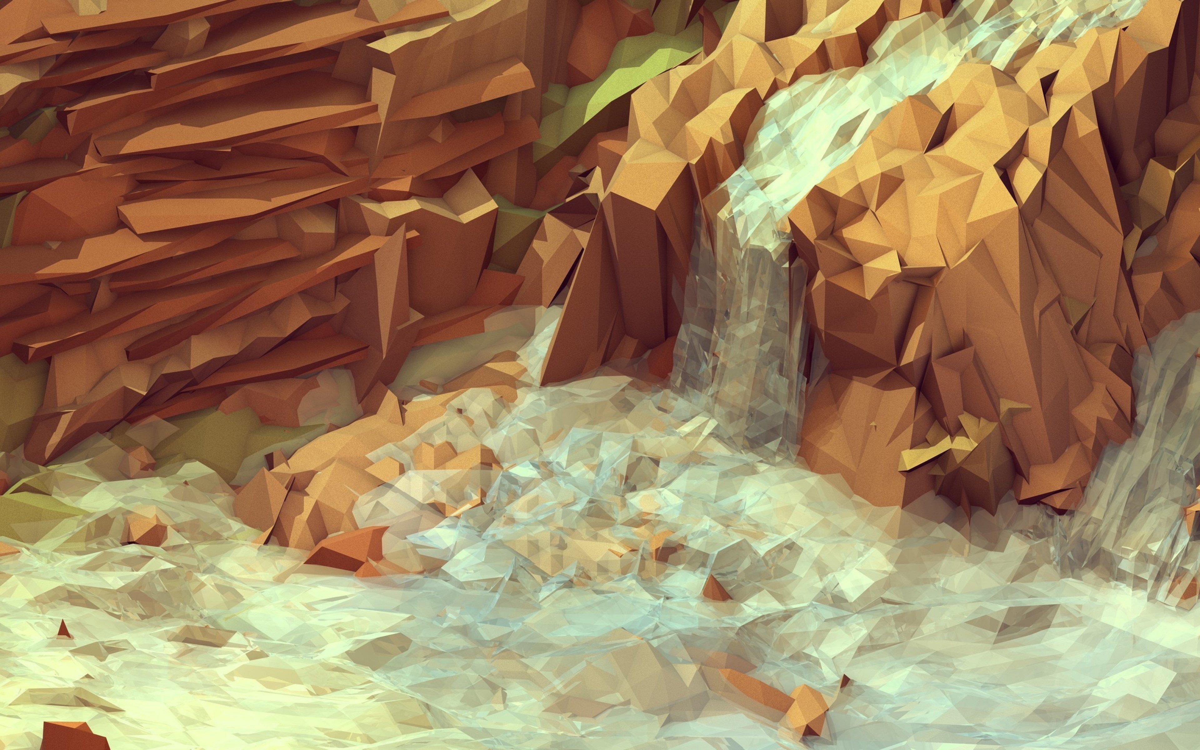 Wallpaper Polygonal waterfall