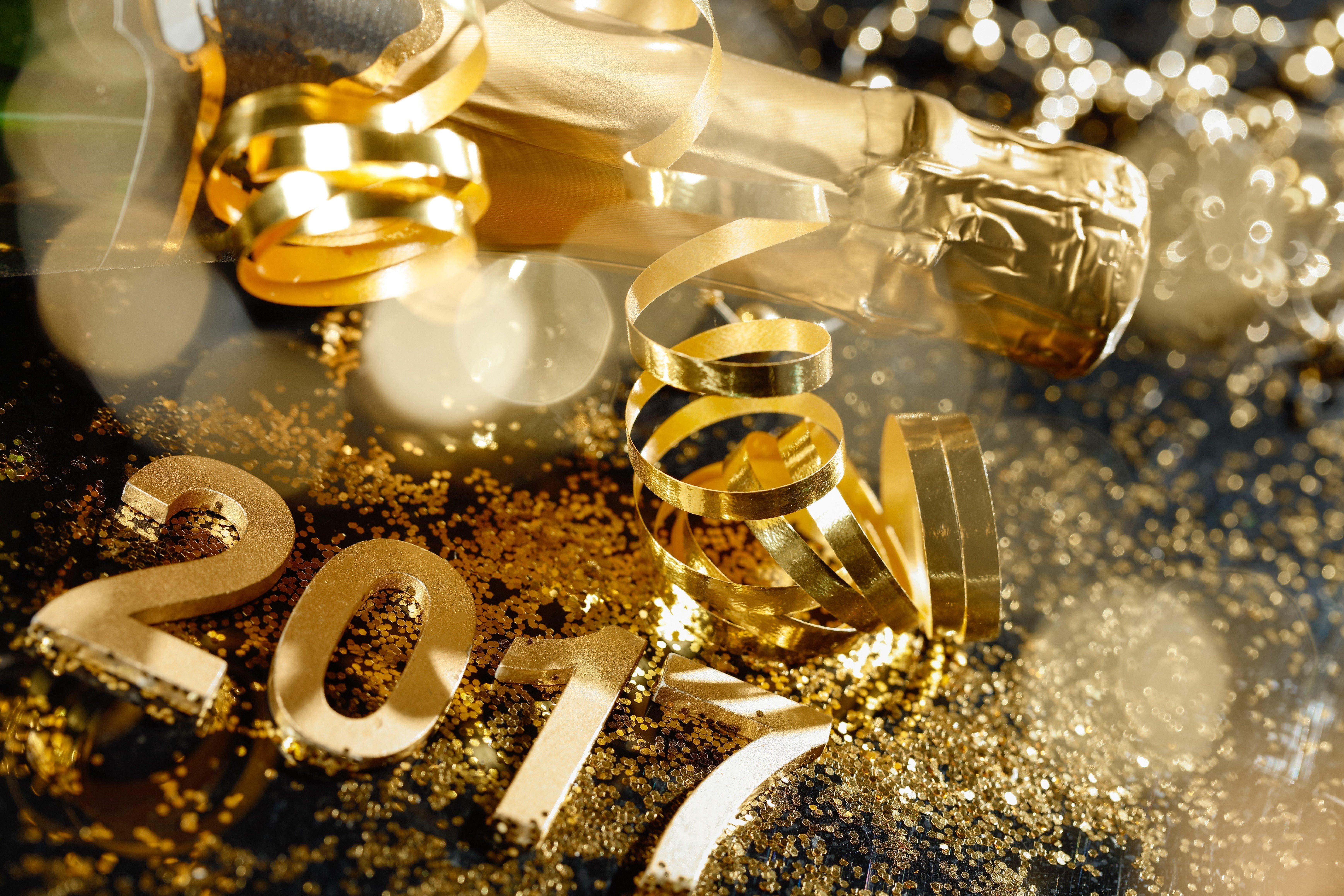 Fondo de pantalla de Celebración año 2017 en dorado Imágenes